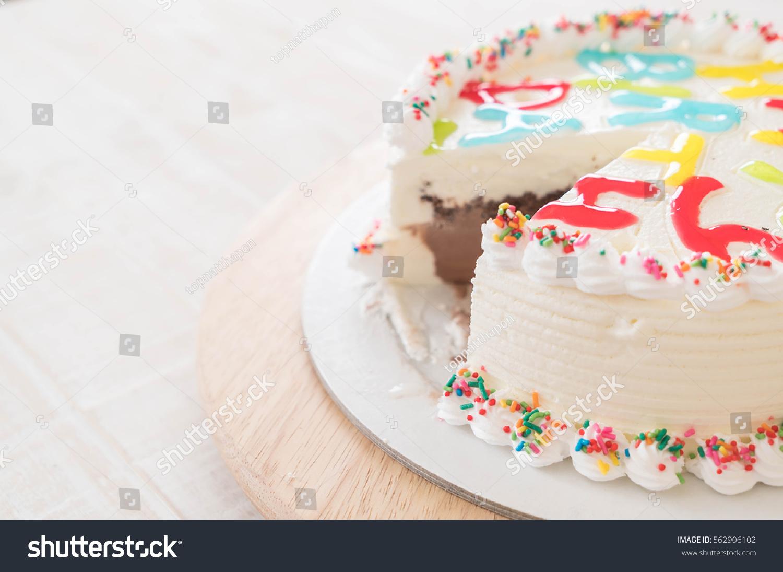 Happy Birthday Icecream Cake On Table Stock Photo Download Now