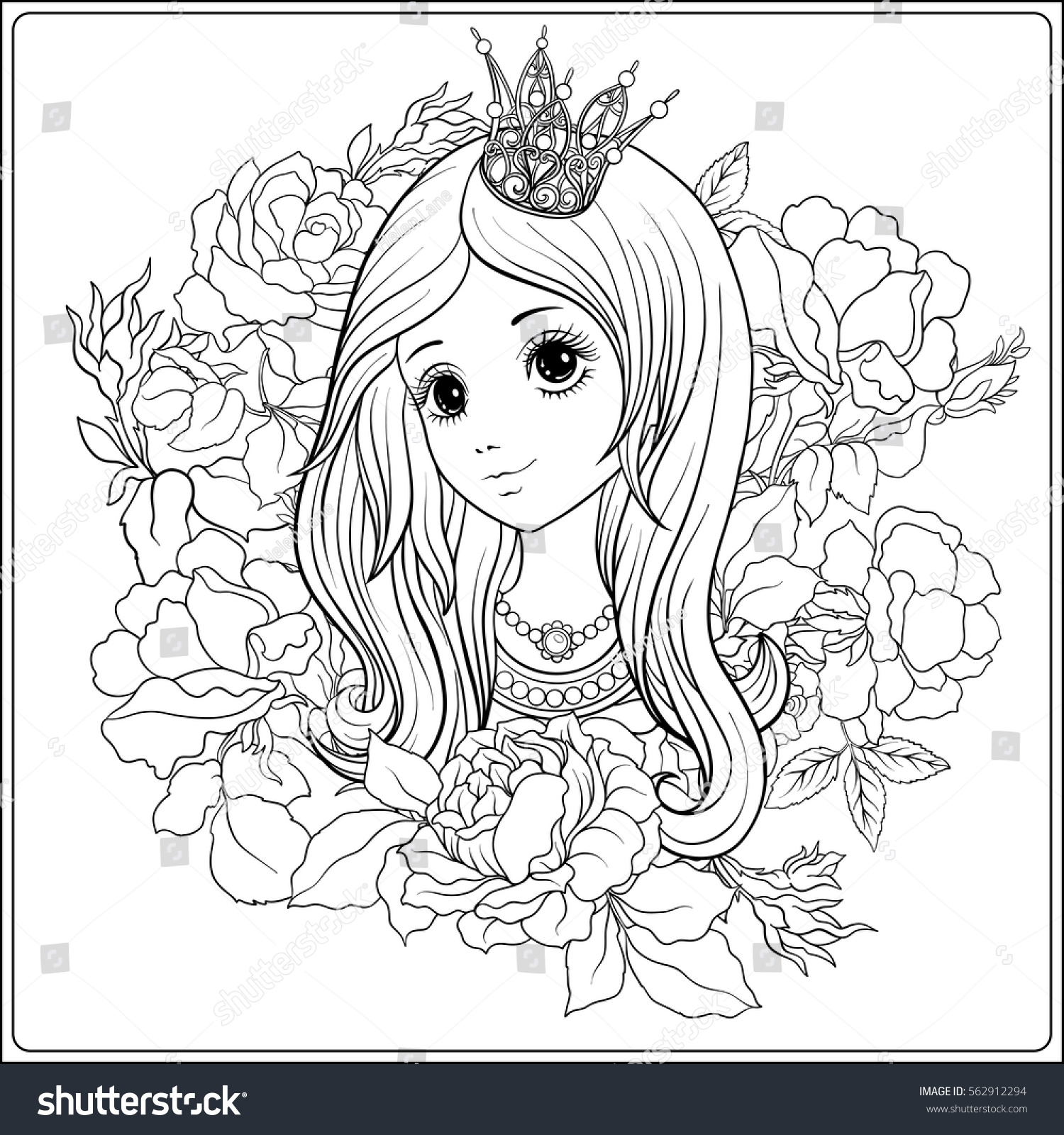 Coloring book princess crowns - Young Nice Girl In Princess Crown In The Garden Of Roses Outline Drawing Coloring Page
