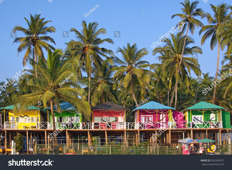 Colorful bungalows on palolem beach south goa india beach front accommodation resort