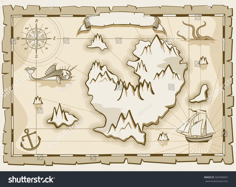 Vintage Parchment Vector Brown Map Paper Stock Vector - Us parchment map