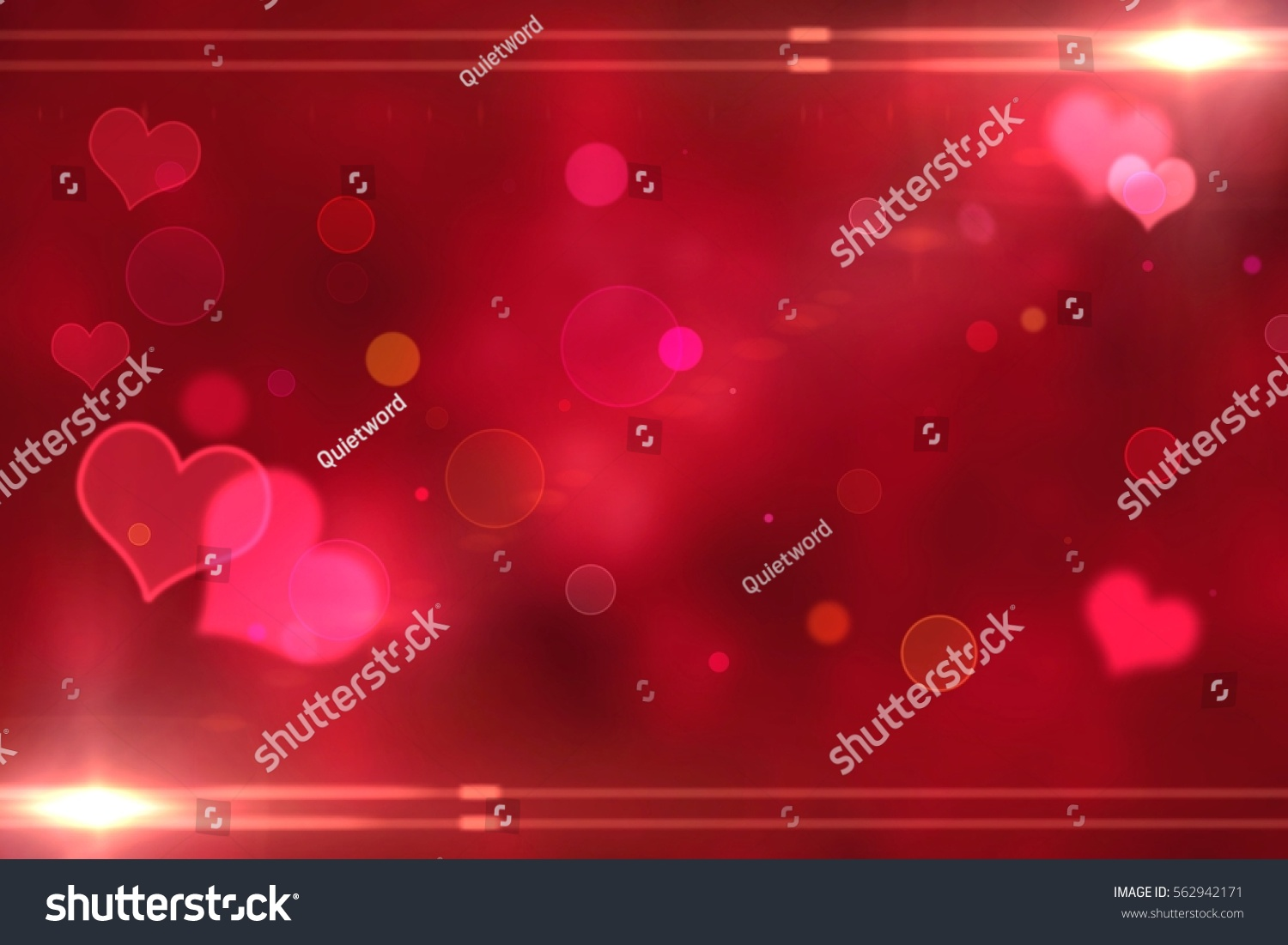Bokeh Heart Shape Of Light Background Stock Footage Video: Gradient Red Background Heart Shape Bokeh Stock