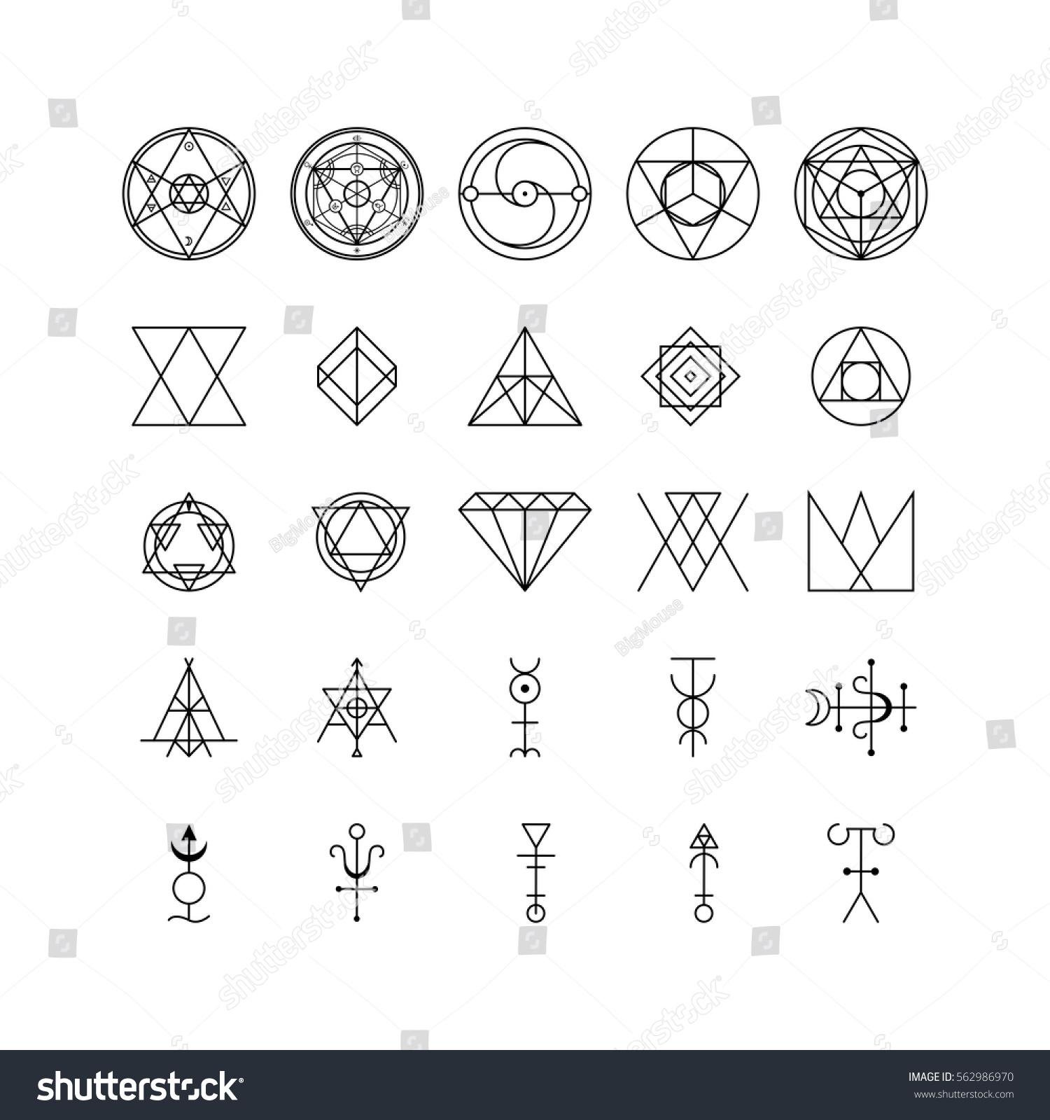 Alchemy Thin Line Icon Set Trendy Stock Vector Royalty Free