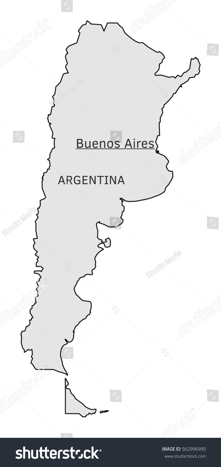 Argentina Silhouette Map Buenos Aires Capital Stock Vector - Argentina map buenos aires