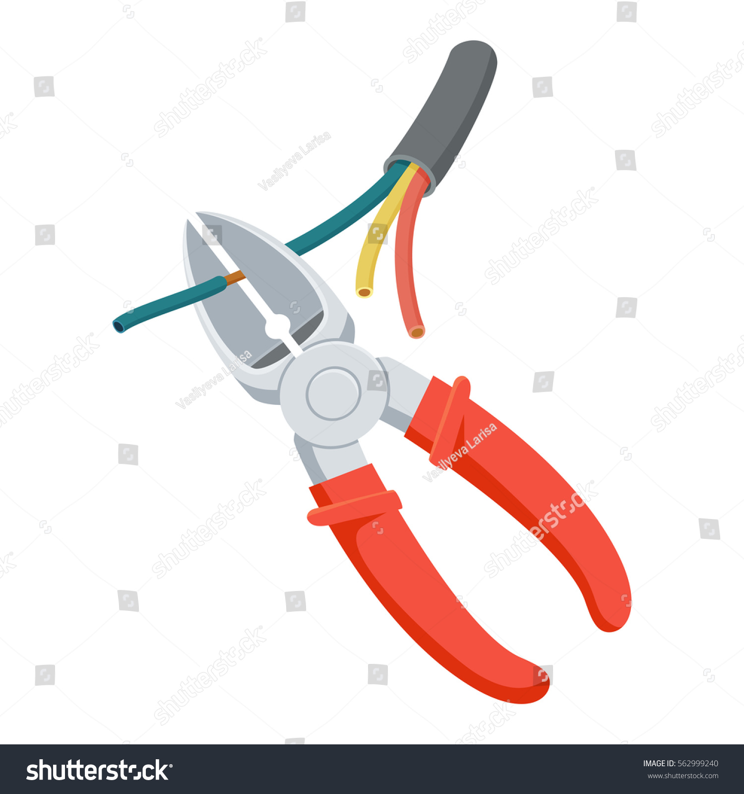 Cut Wire Cutters Pliers Repair Tool Stock Vector 562999240 ...