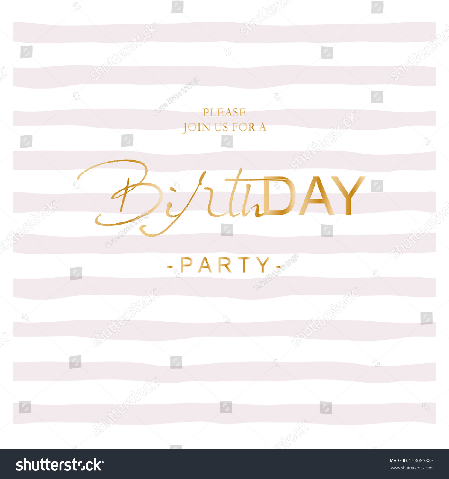 Birthday party invitation on hand drawn stock vector 563085883 birthday party invitation on hand drawn stripped background trendy simple design pastel pink and stopboris Gallery