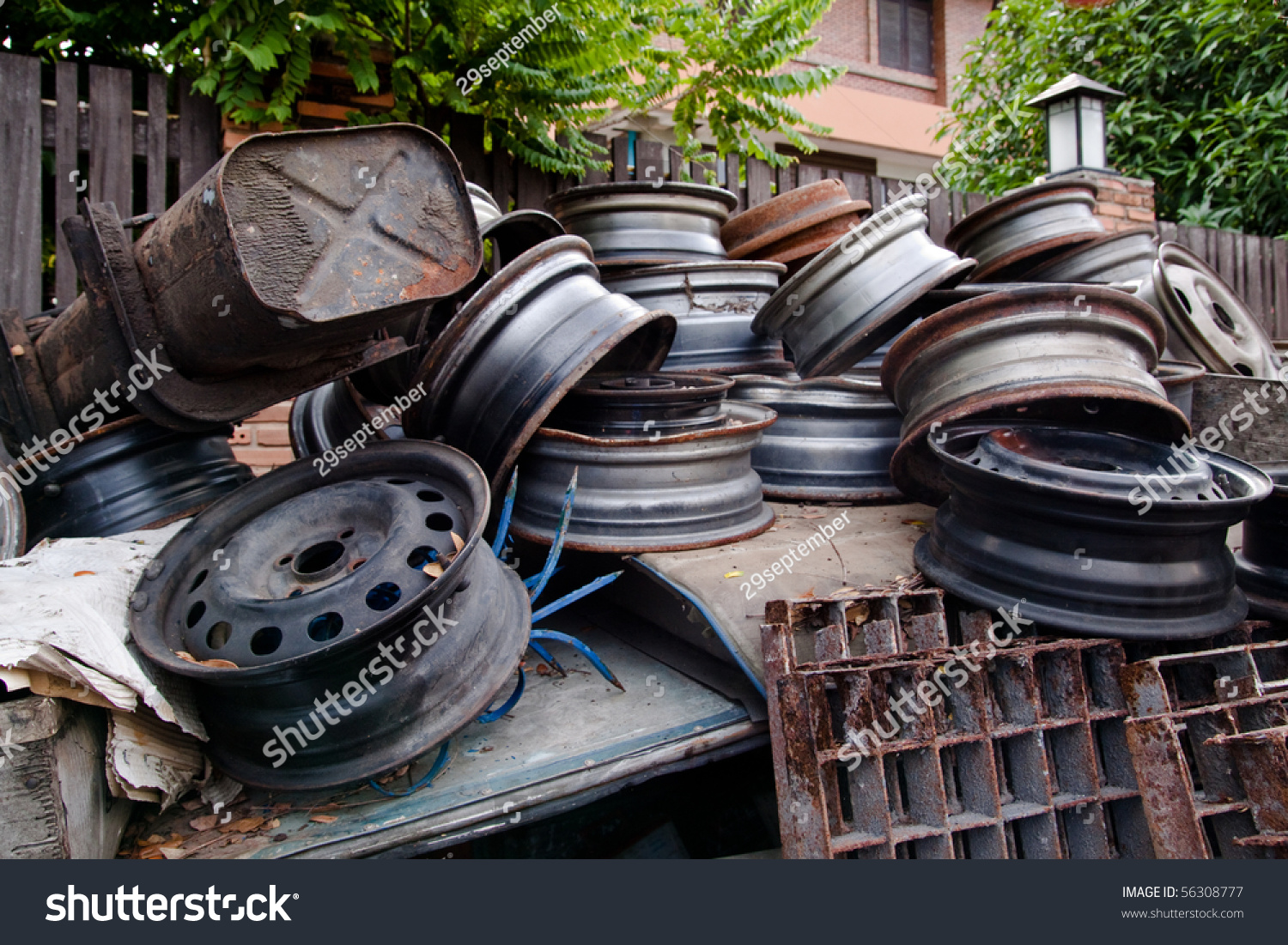 Metal Waste Scrap Old Car Parts Stock Photo 56308777 - Shutterstock