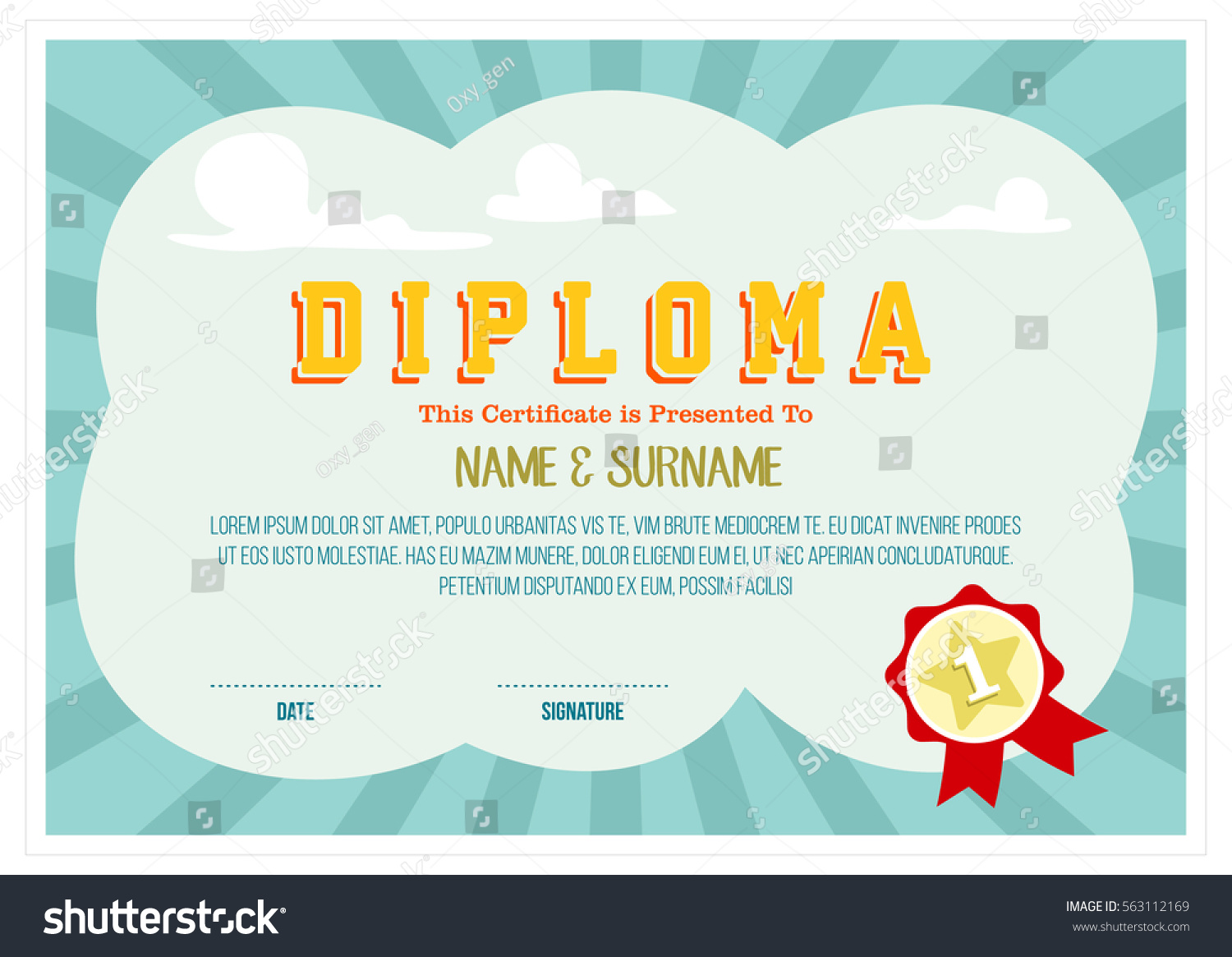 Colorful Diploma Certificate Layout Template School Stock Vector