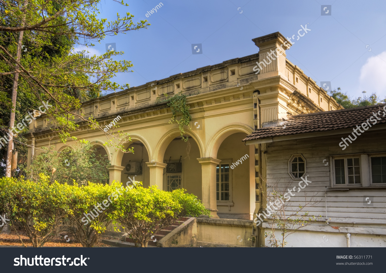 Vintage Old House Yellow Color Under Stock Photo Edit Now 56311771