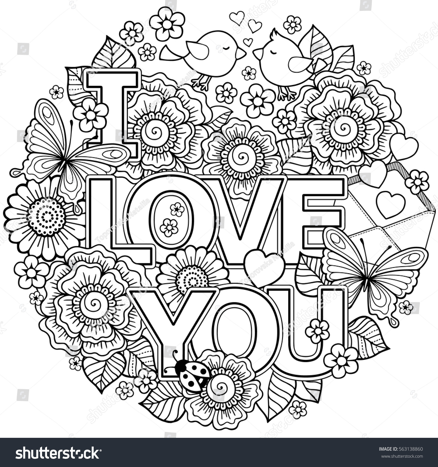 vector coloring page round shape stock vector 563138860