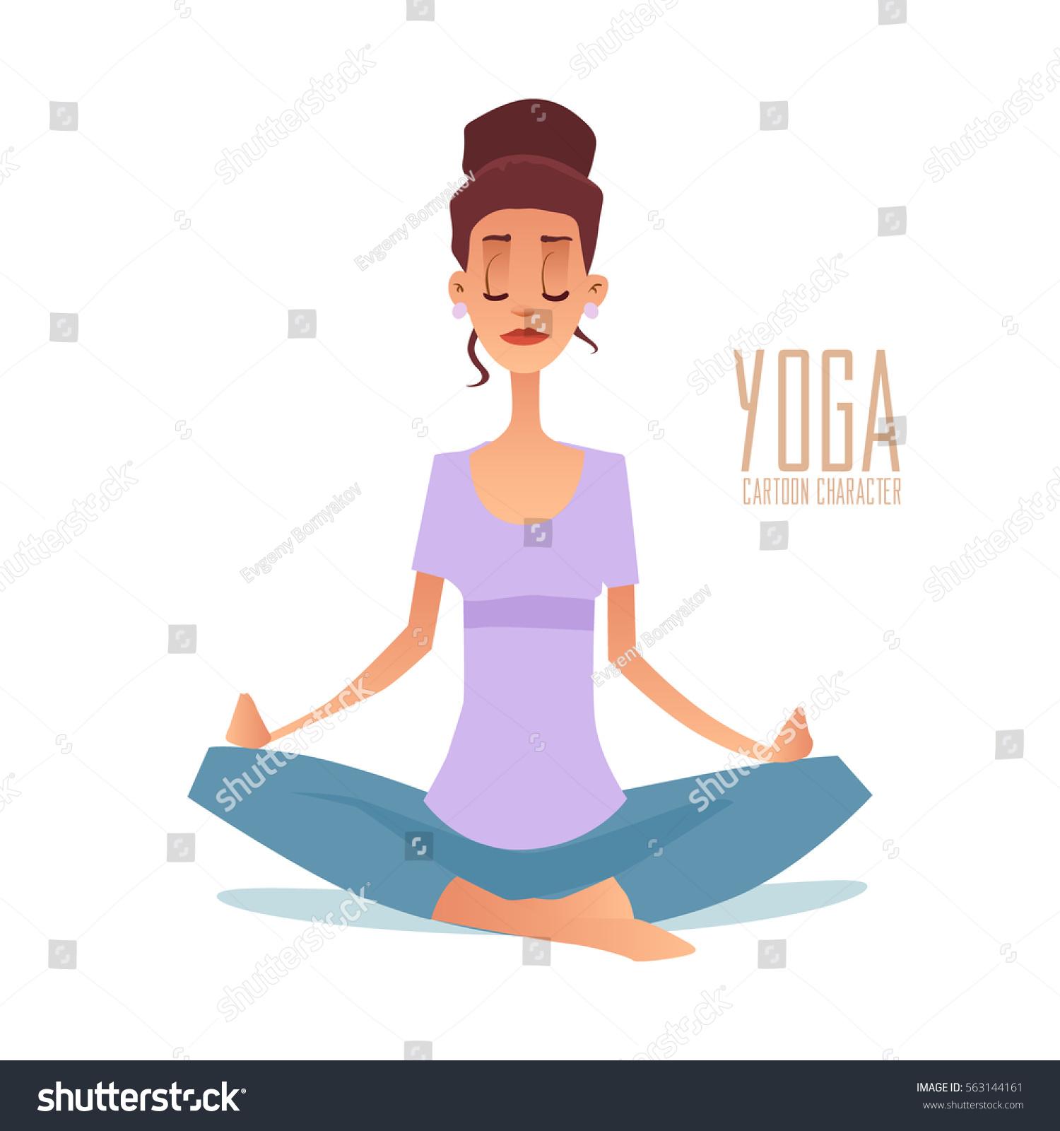 Young Woman Meditating Mother Doing Yoga Stock Vector Royalty Free 563144161
