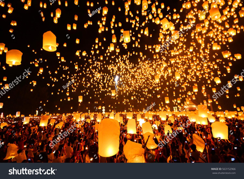 Flying Sky Lantern On Yeepeng Festival Stock Photo 563152966 ... for Flying Lantern Lights  51ane