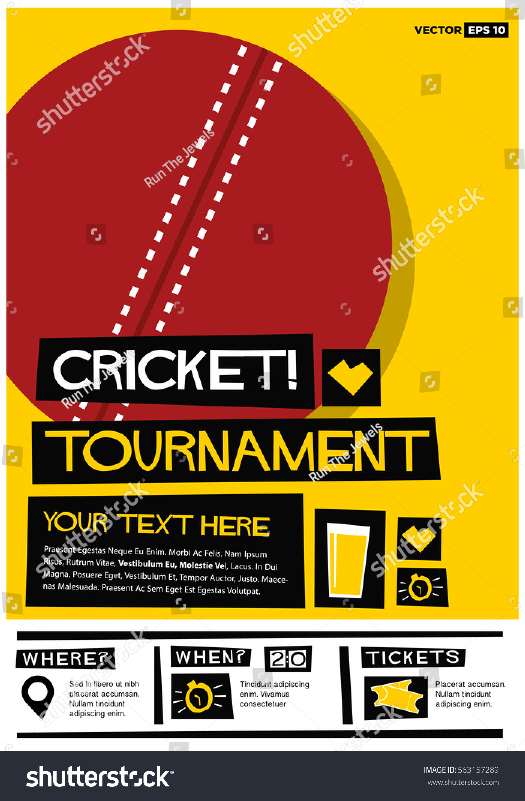 Invitation For Corporate Cricket Tournament: Cricket Tournament Flat Style Vector Illustration Stock