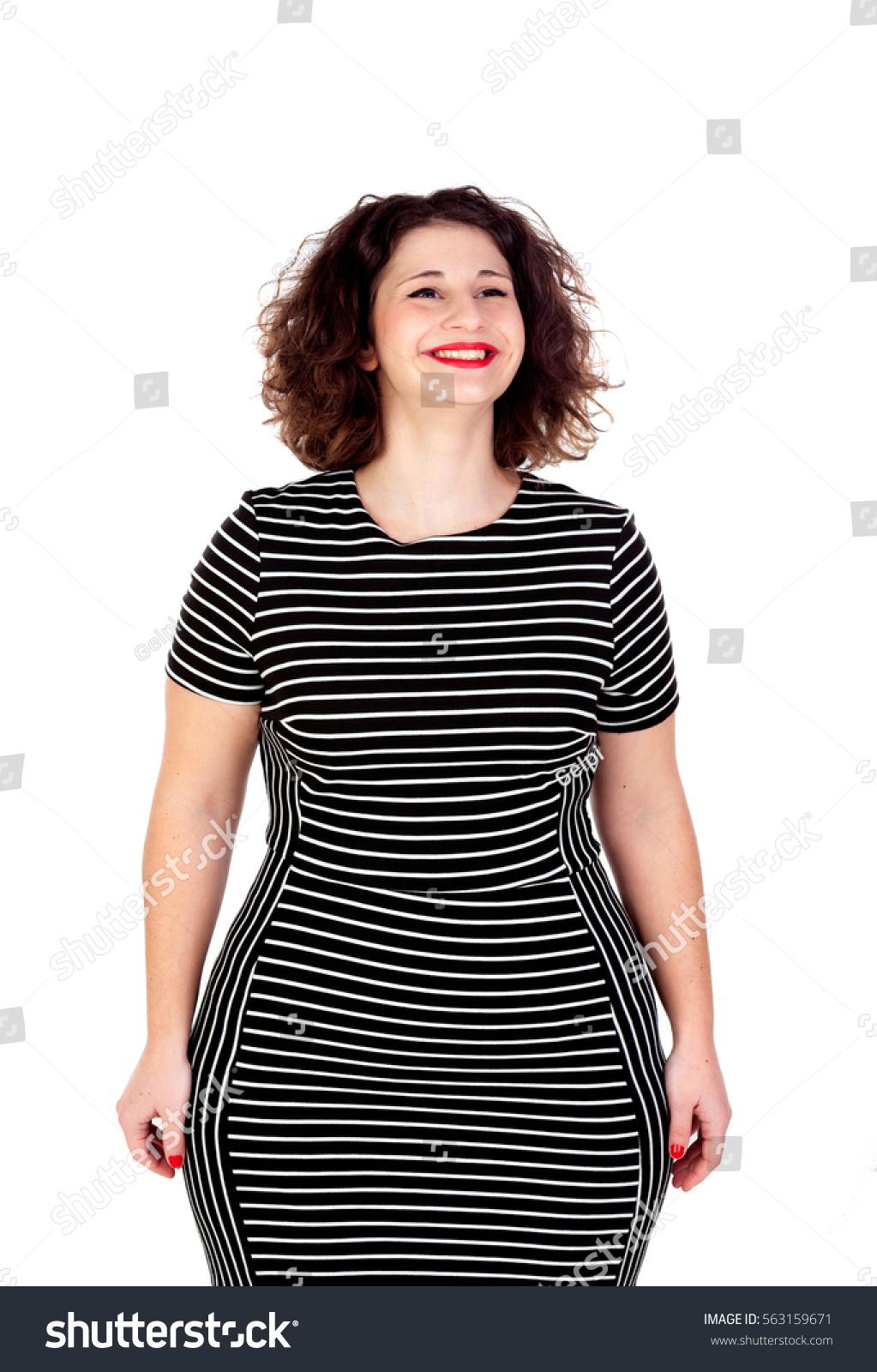 Pensive Beautiful Curvy Girl Striped Dress Stock Photo ...