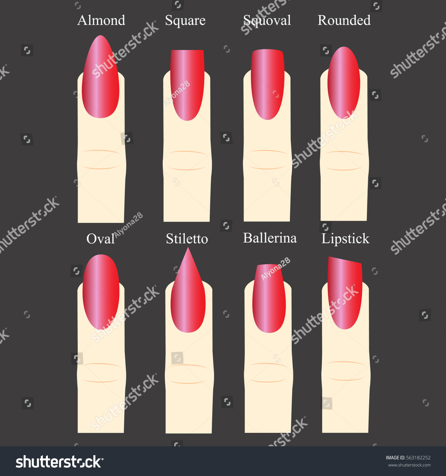 Set Nail Forms Female Manicure Set Stock Vector HD (Royalty Free ...