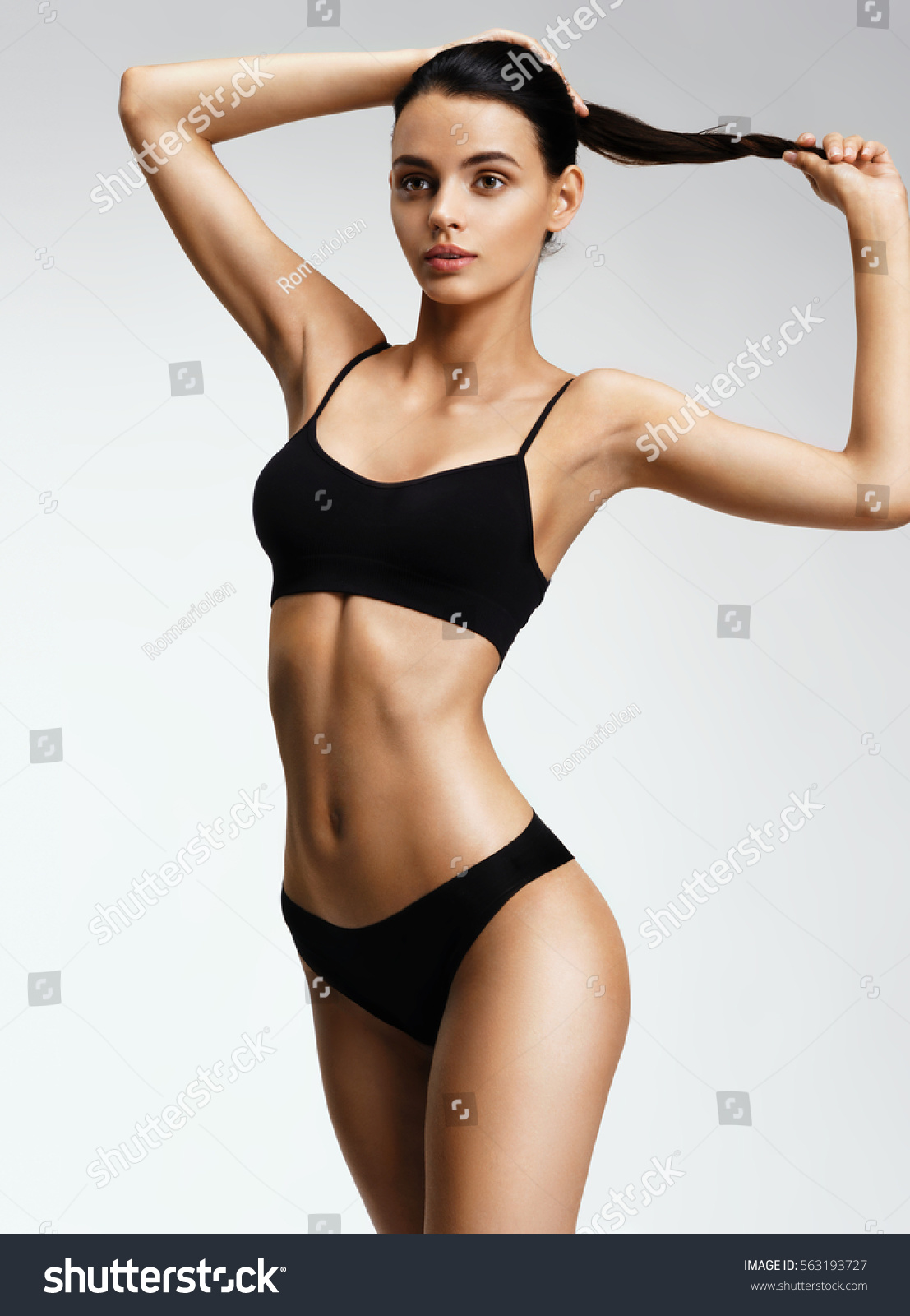 Beautiful Sporty Woman Black Bikini Posing Stock Photo ...
