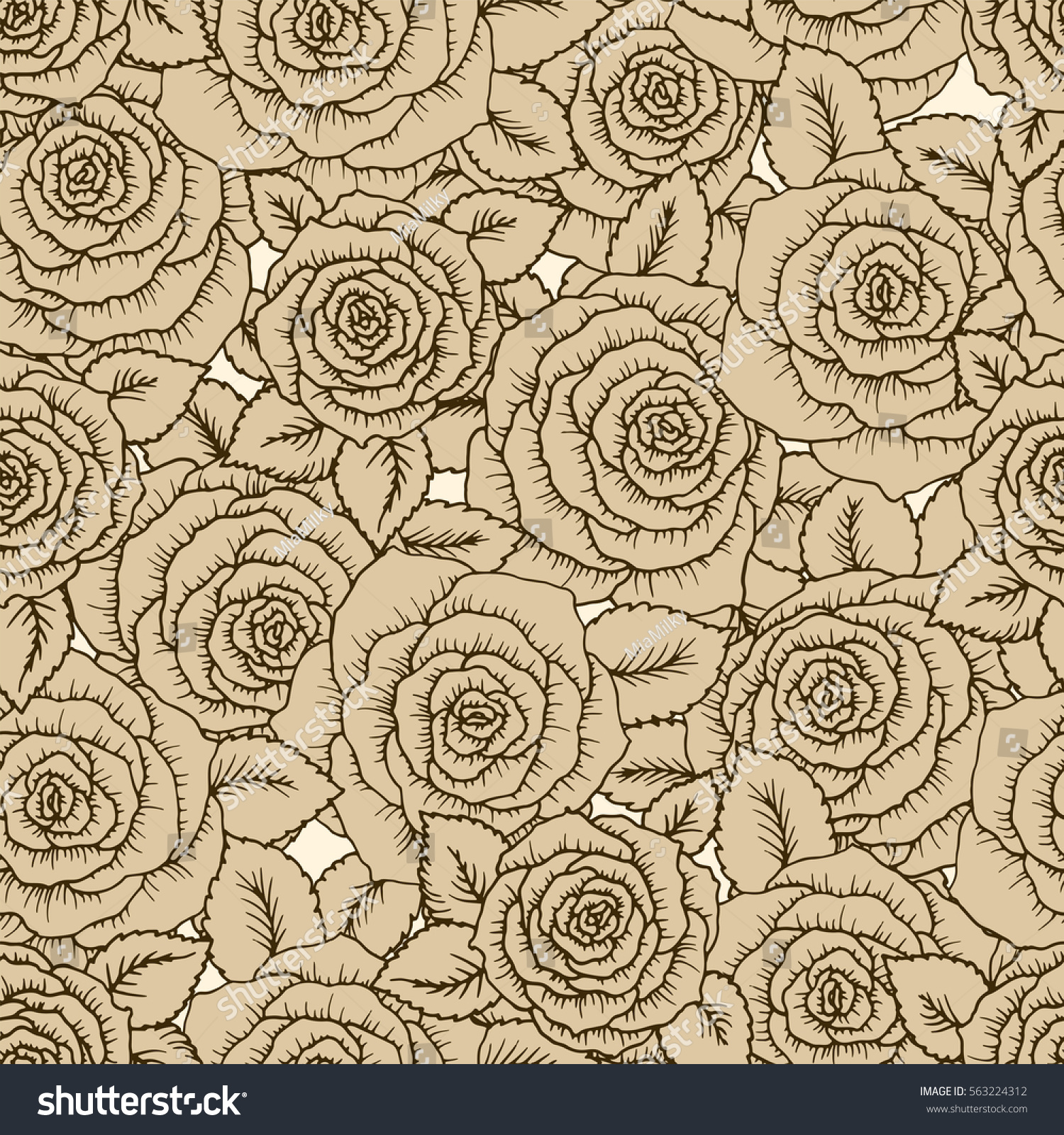 Vintage seamless pattern with garden beige roses on light background ...