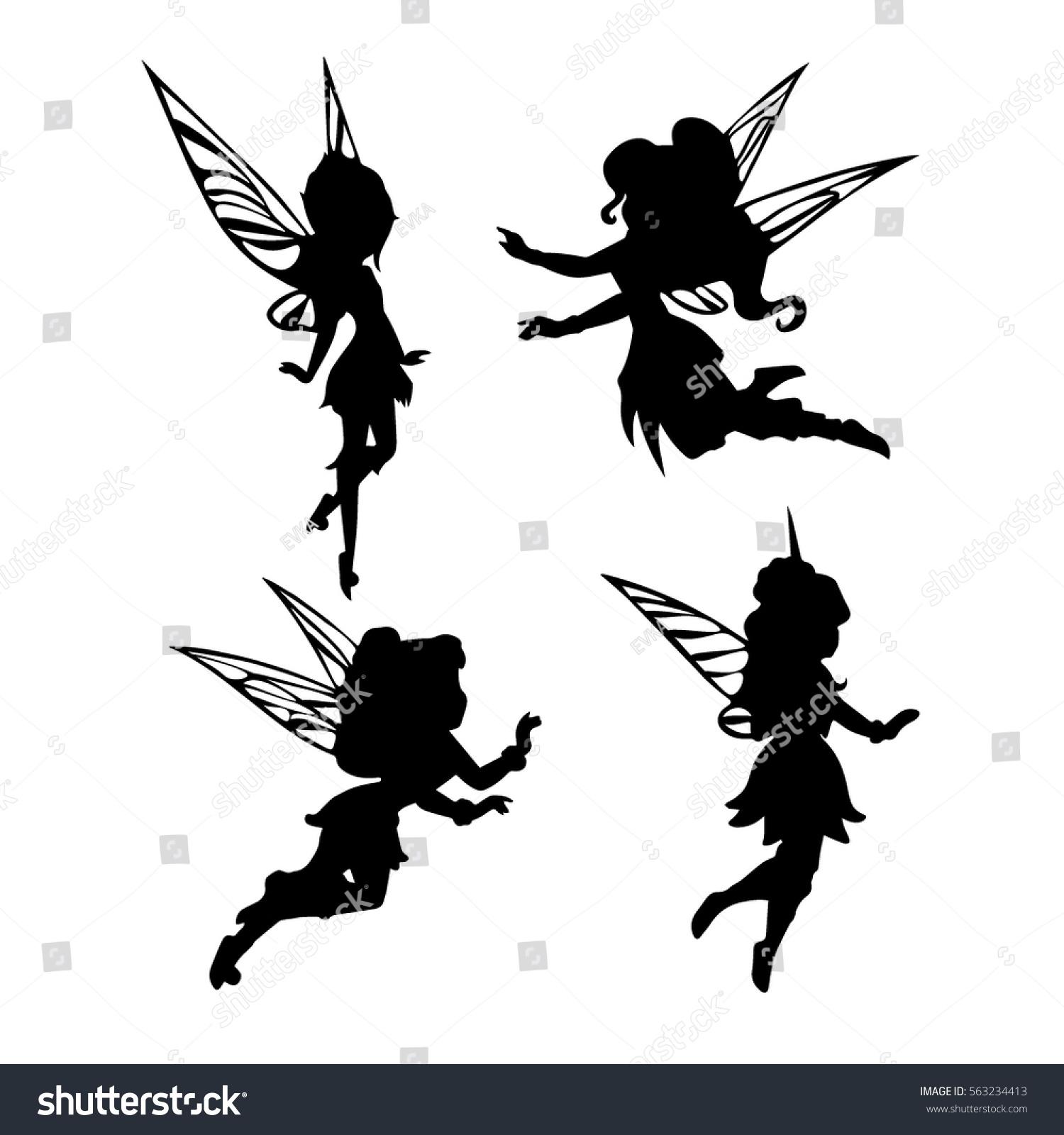 cute fairies silhouette collection little fairies stock vector