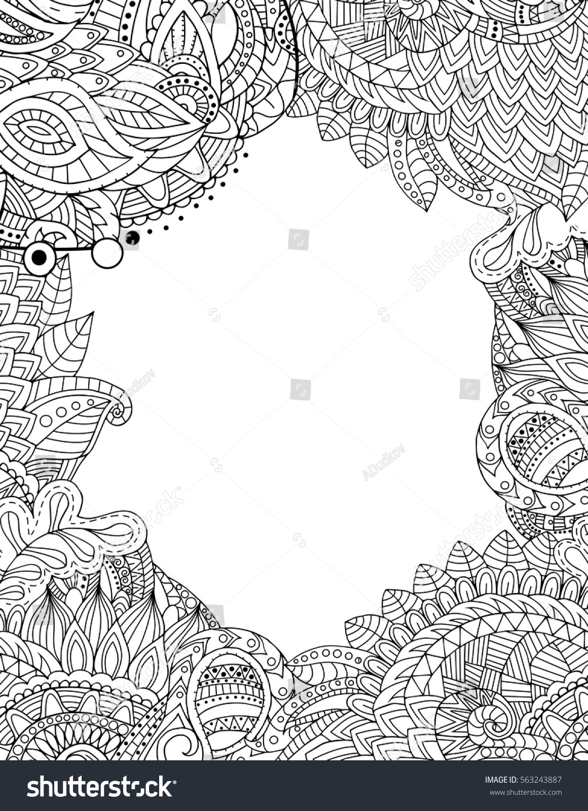 Postcard Template Zentangle Adult Coloring Book Stock Vector ...