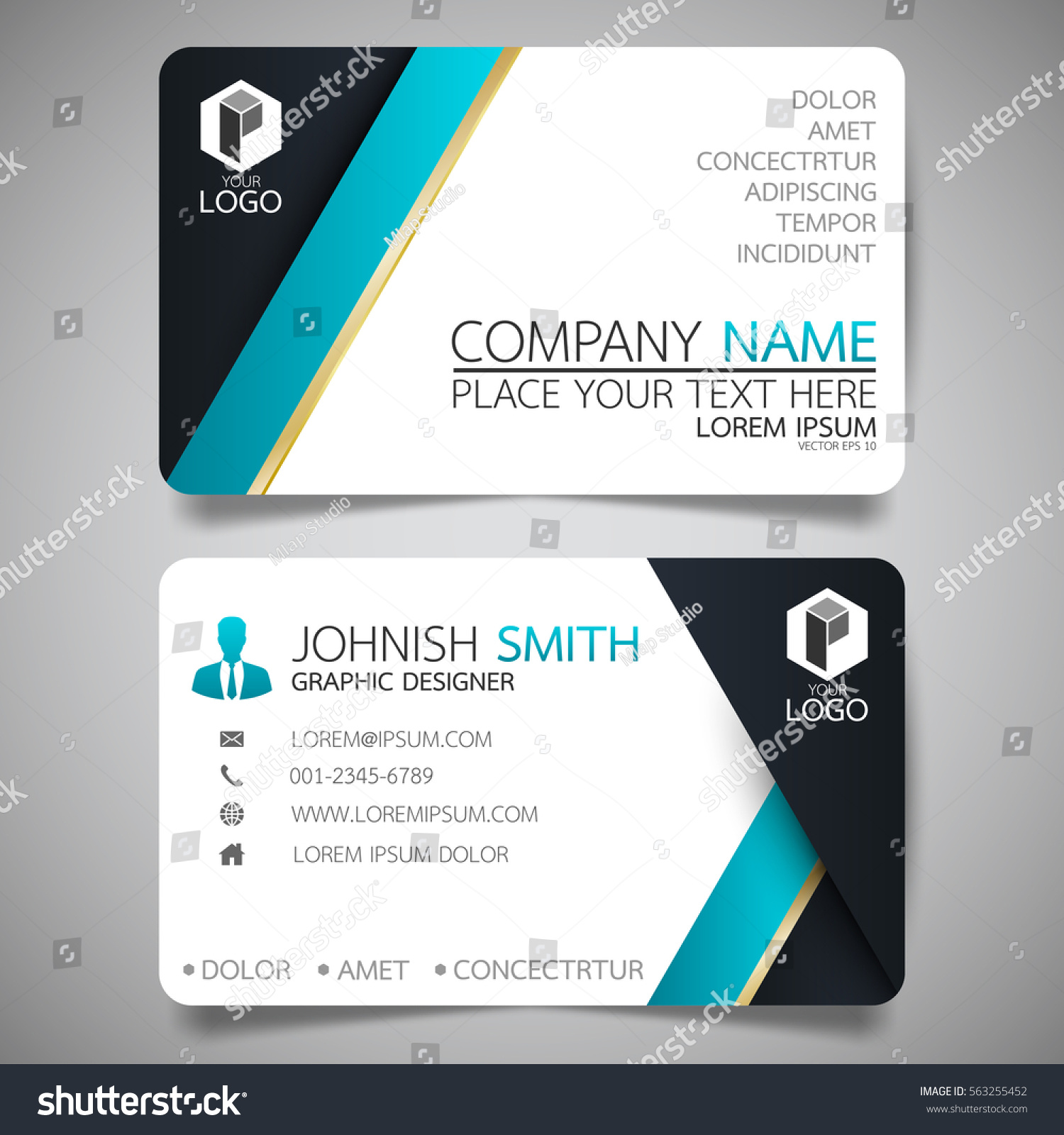 Blue modern creative business card name stock vector 563255452 blue modern creative business card and name cardhorizontal simple clean template vector design magicingreecefo Images