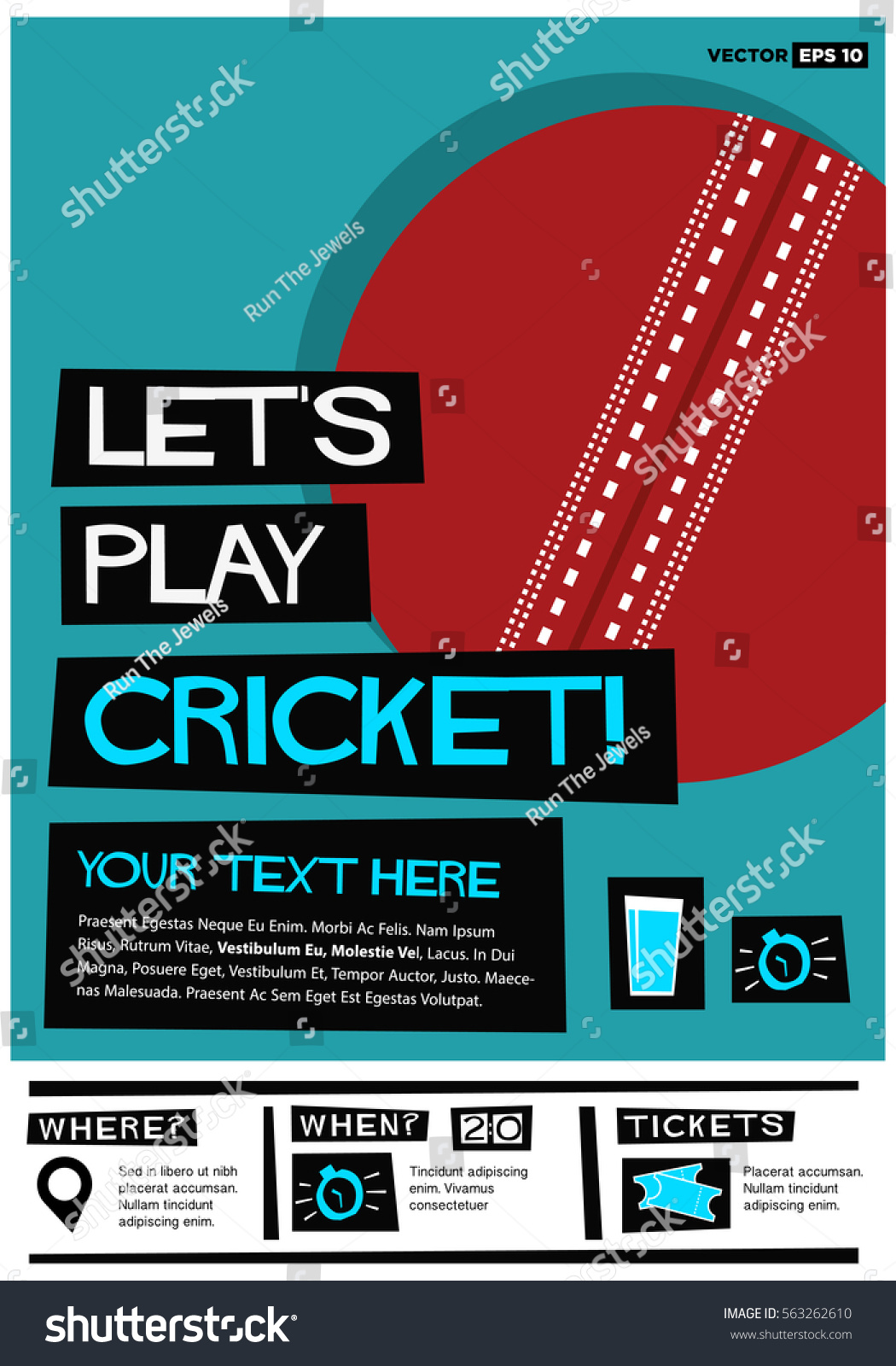 Poster design event - Let S Play Cricket Flat Style Vector Illustration Sports Poster Design Event Invitation With Venue