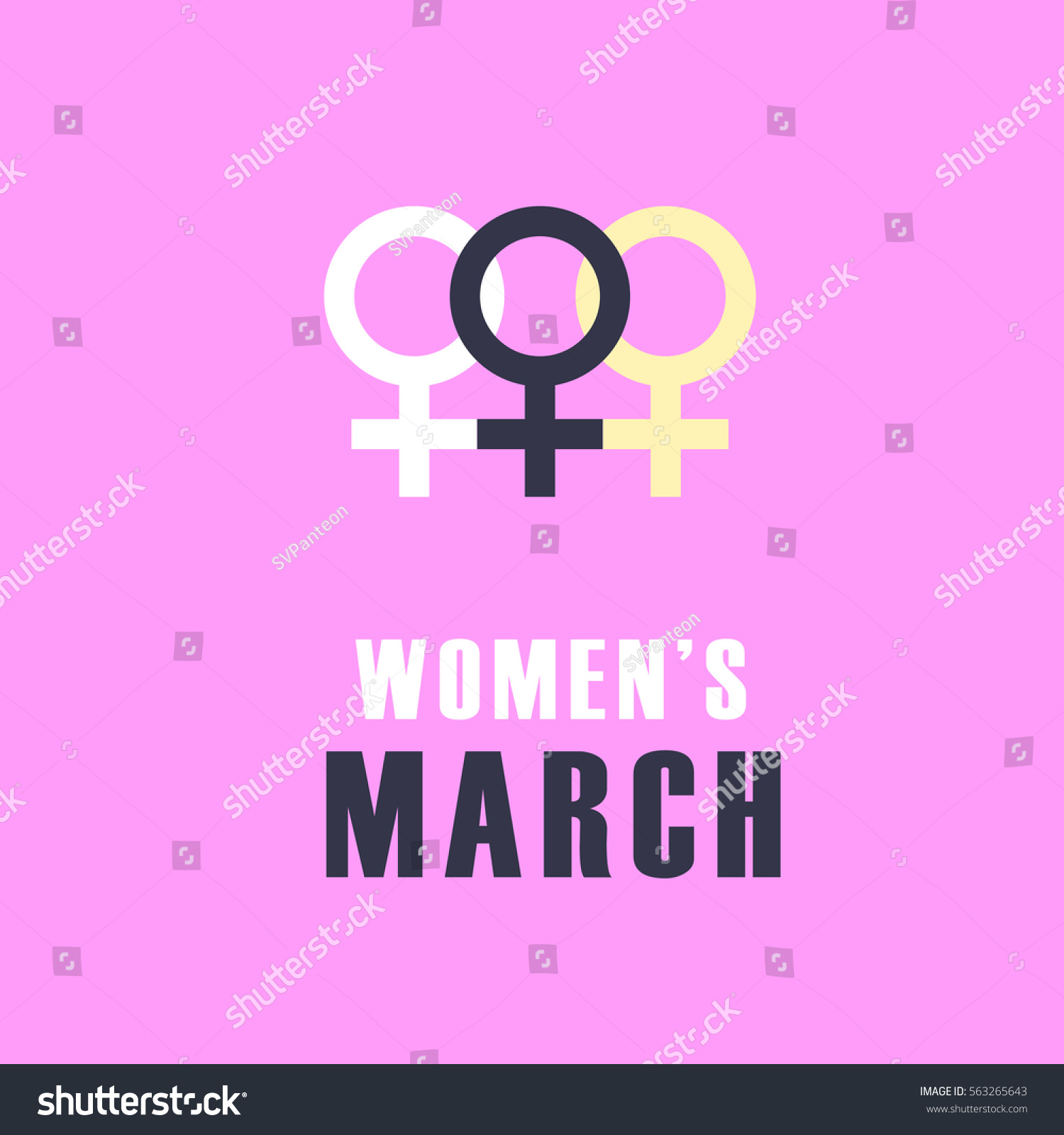Women March Protest Pink Banner Design Stock Vector 563265643