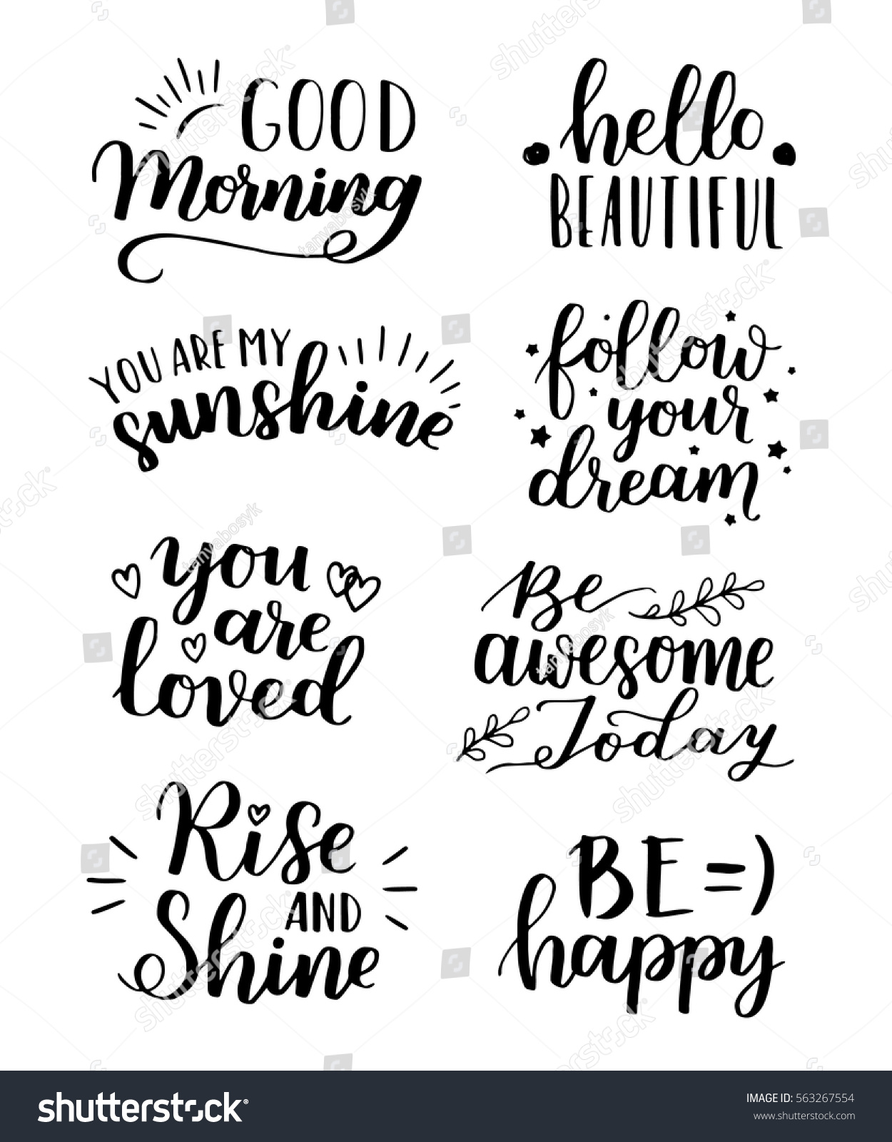 Lettering vector set motivational quote sweet stock