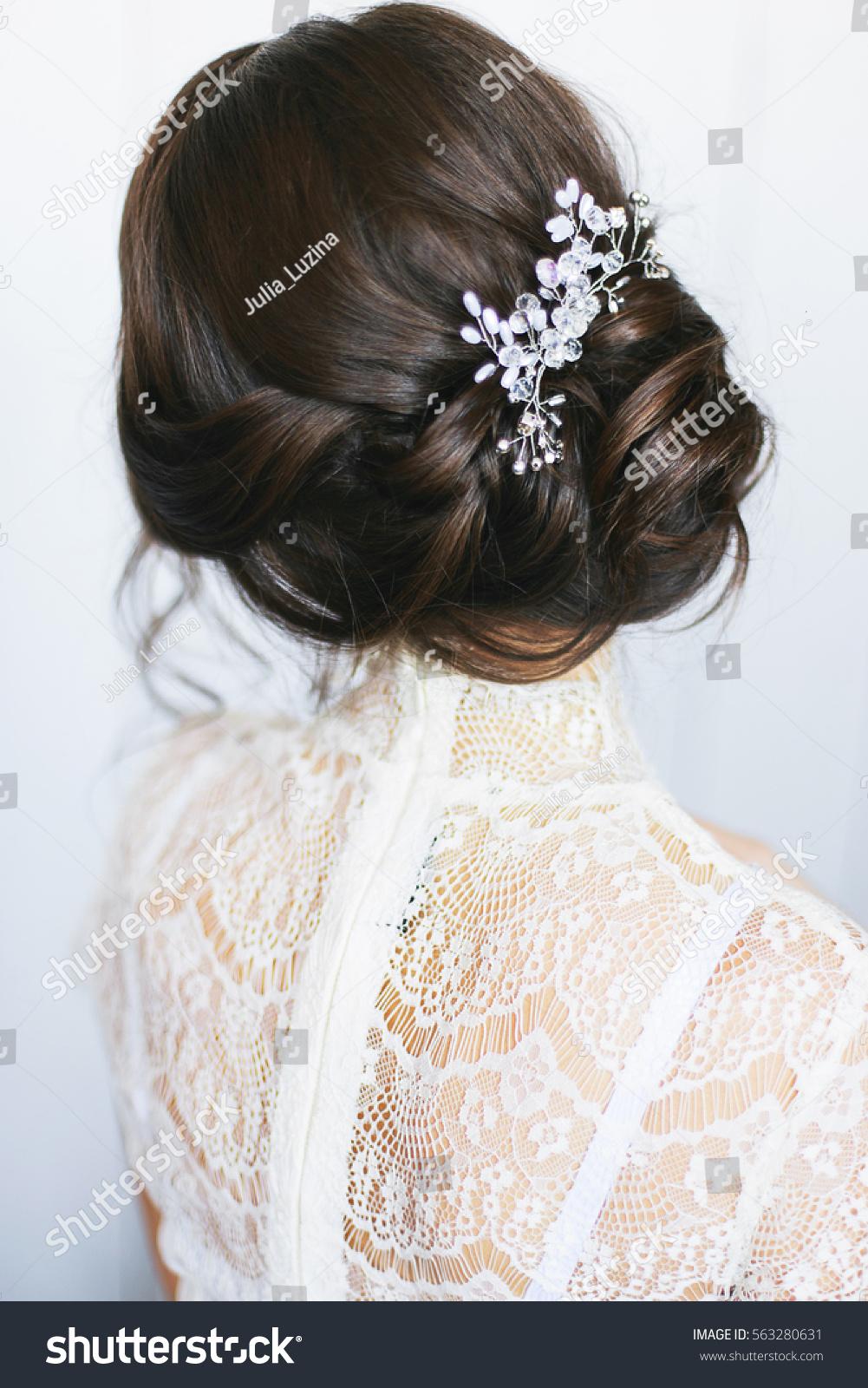 Elegant Brunette Bride Sitting Back Collected Stock Photo (Royalty ...