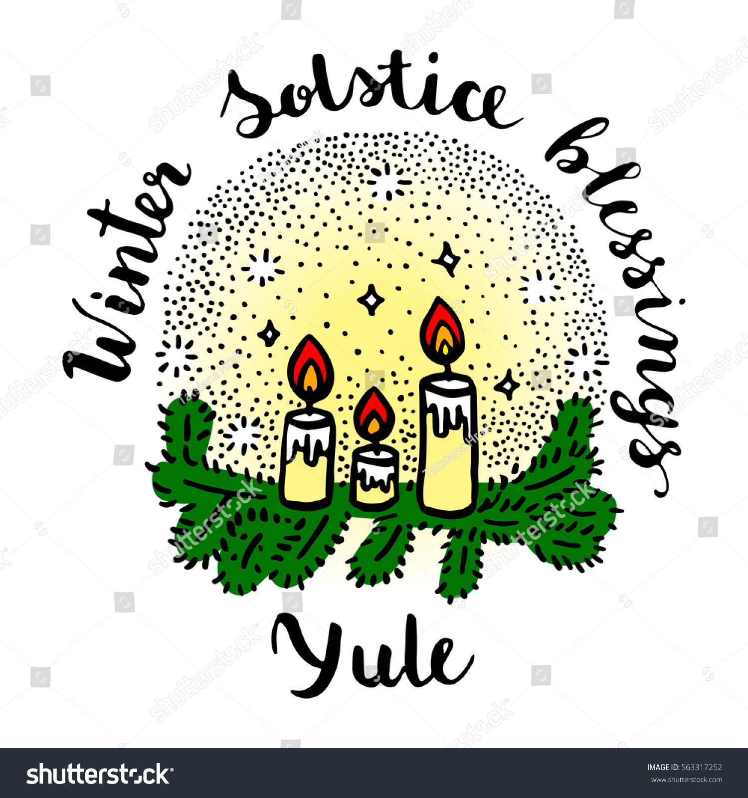 Yule Winter Solstice Day Greeting Card Stock Vector 563317252