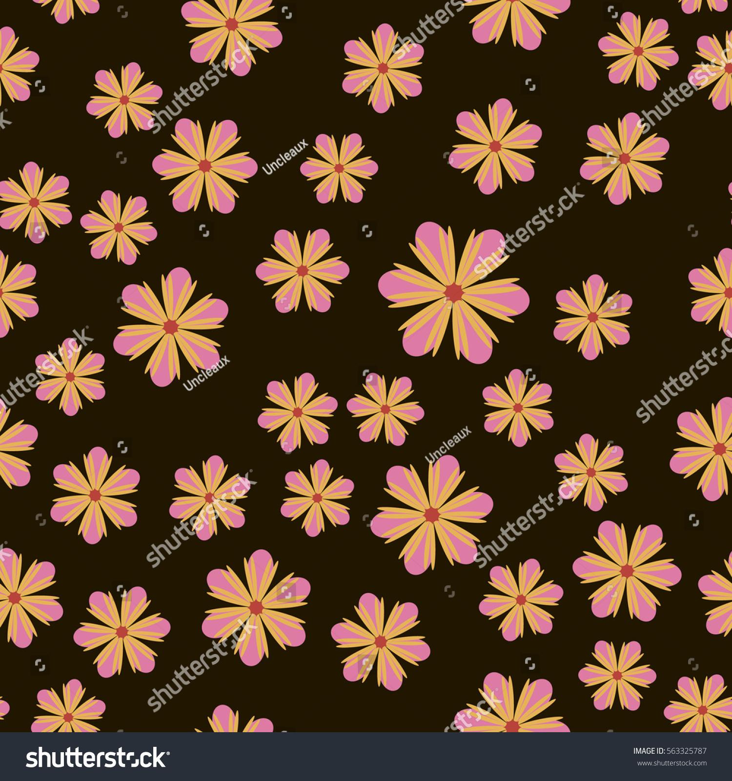 Exquisite Floral Ornament Random Flowers Fabric Stock Vector