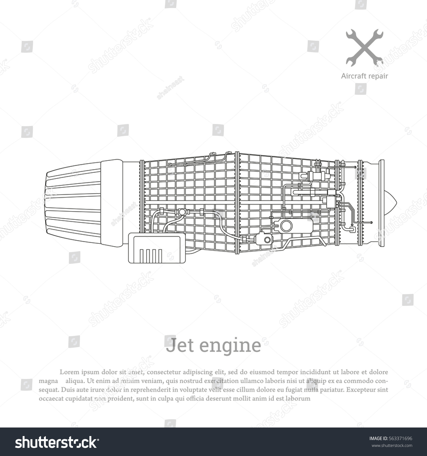 Jet engine outline style part aircraft stock vector 563371696 jet engine in a outline style part of the aircraft side view vector pooptronica Gallery