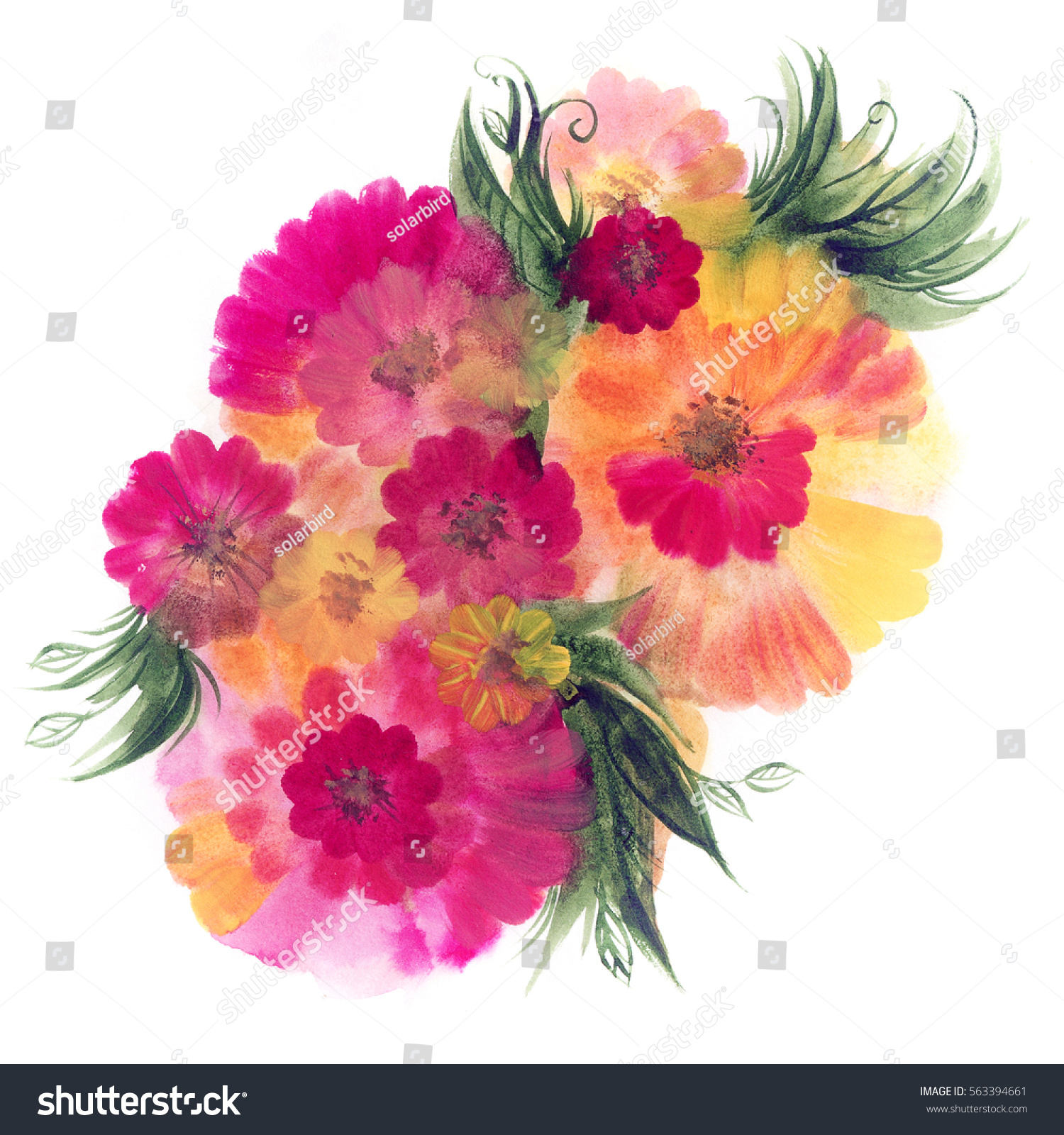 Floral Watercolor Bouquet Vintage Hand Drawn Stock Illustration