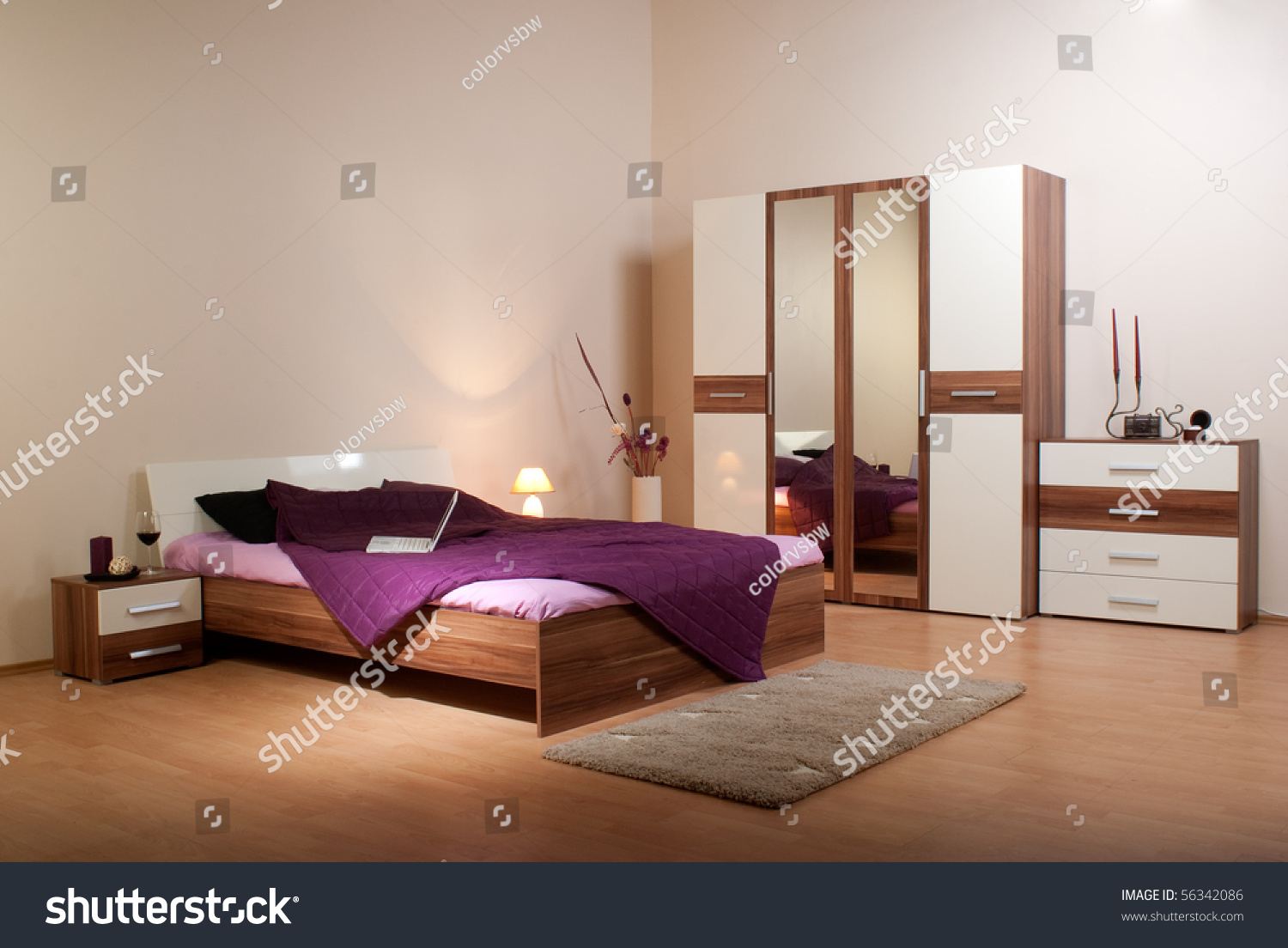 bedroom interior showcase including bed wardrobe bedside table commodes linen press - Bedroom Showcase Designs