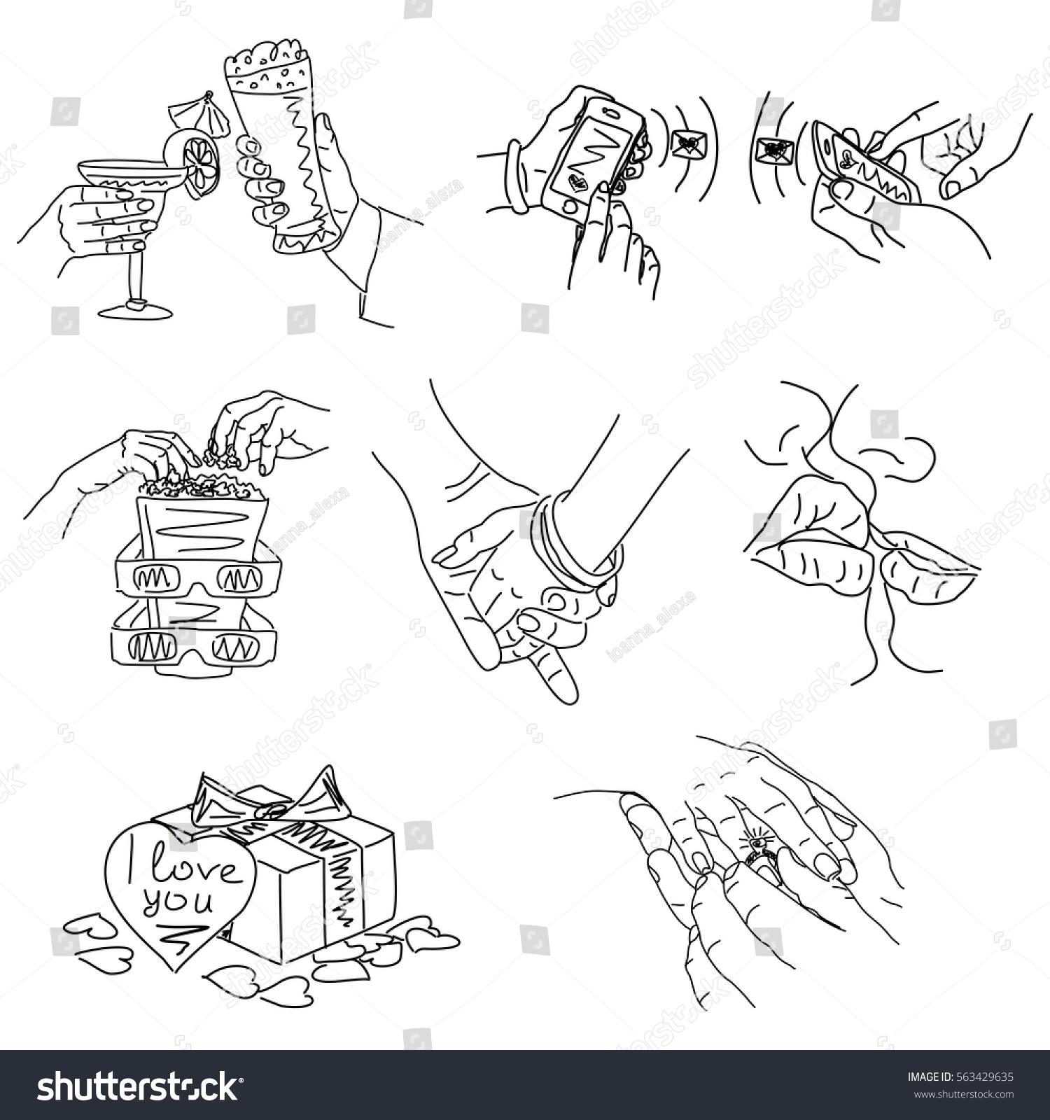 Love Story Set Vector Illustrations Love Stock Vector Royalty Free