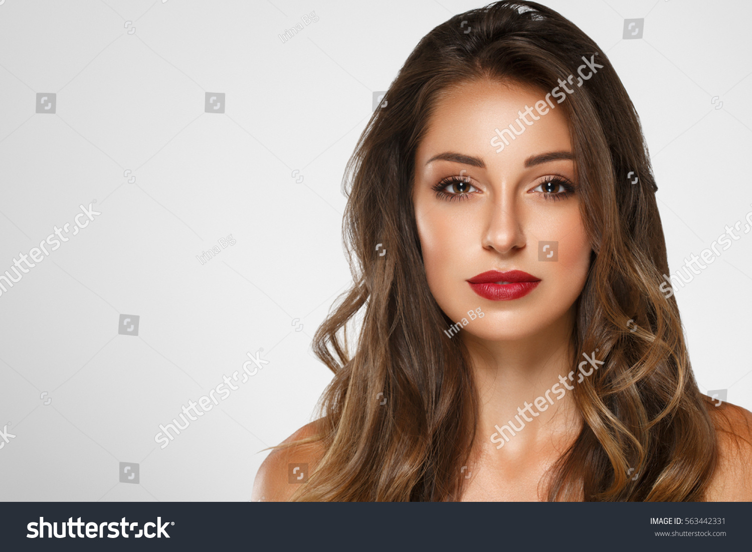 beautiful woman skin tanned red lips stock photo 563442331