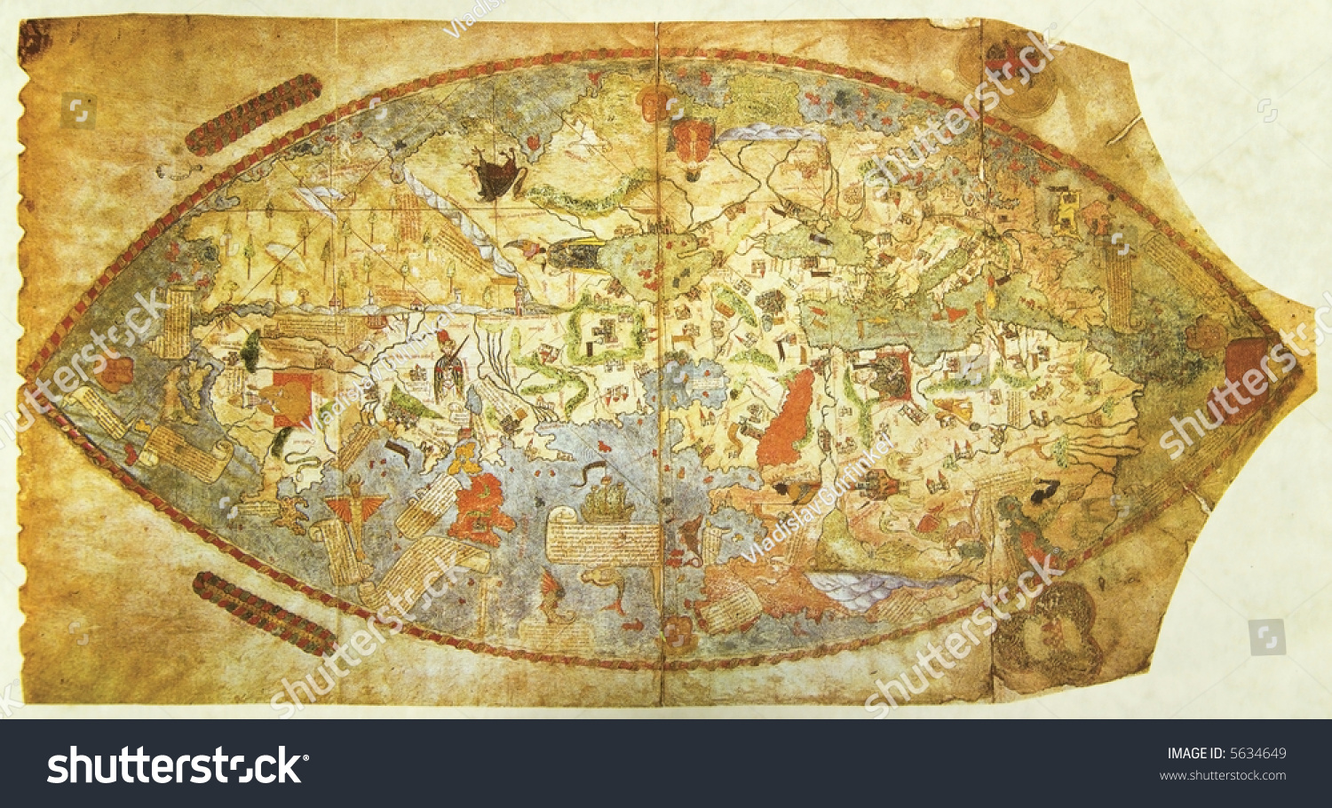 Map Of The World Before Columbus.Medieval Map World Drown Before Columbus Stock Photo Edit Now