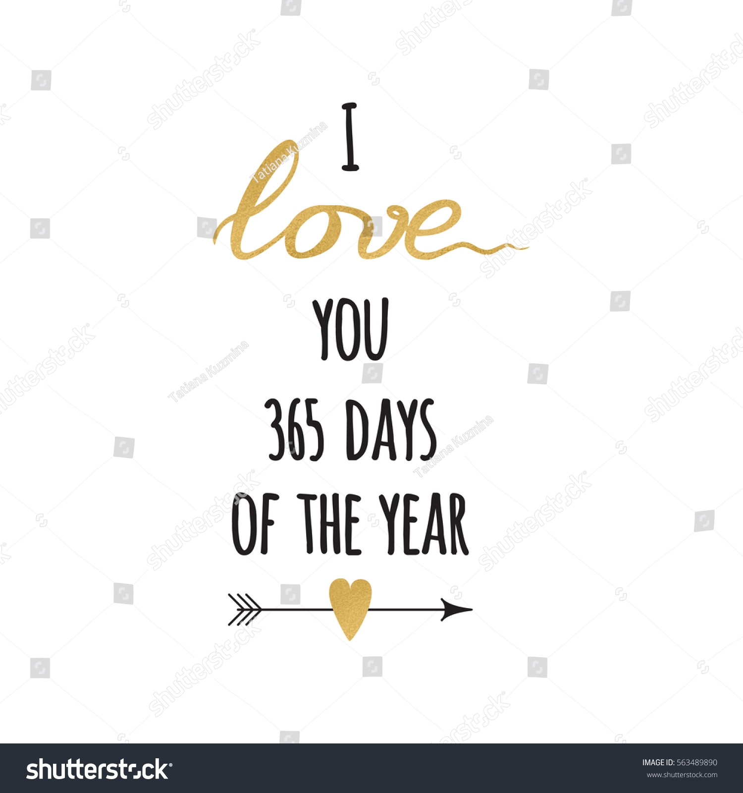 I Love You 365 Days Quotes : with sparkle inspirational hand drawn love quote I love you 365 days ...