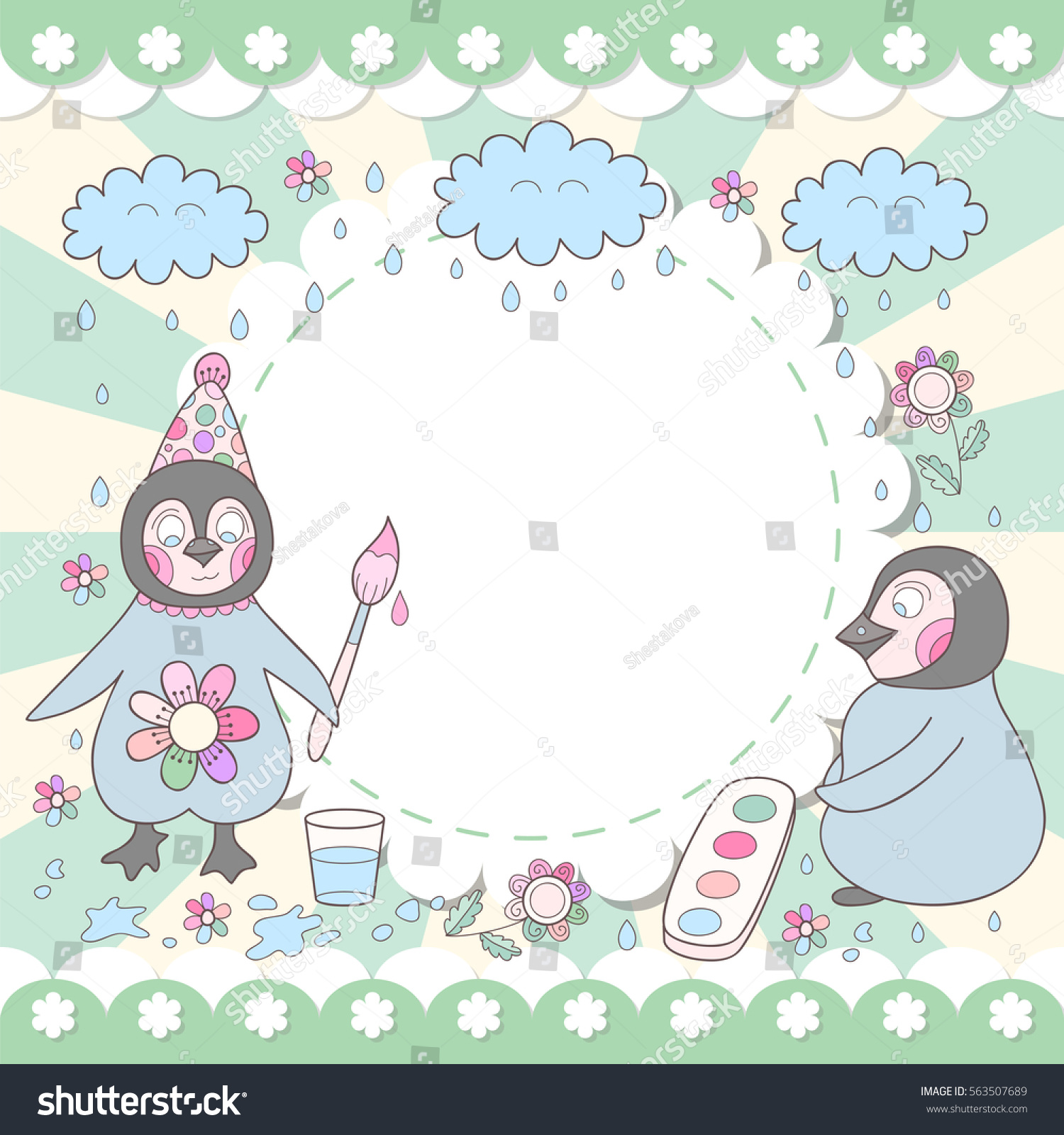 Cute Happy Birthday Card With Drawing Penguins Adorable Photo Frame