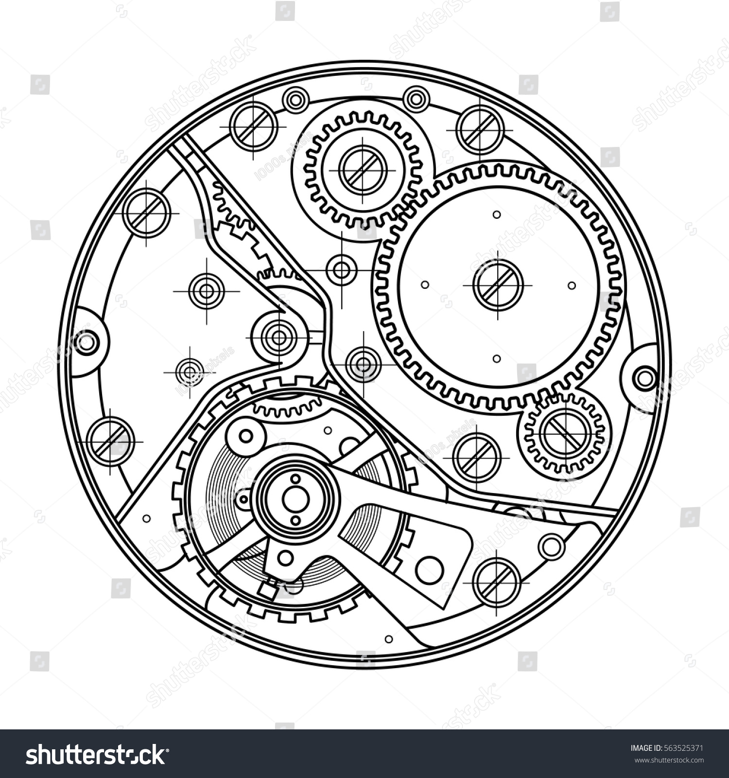Mechanical Watches Gears Drawing Internal Device Stockvector