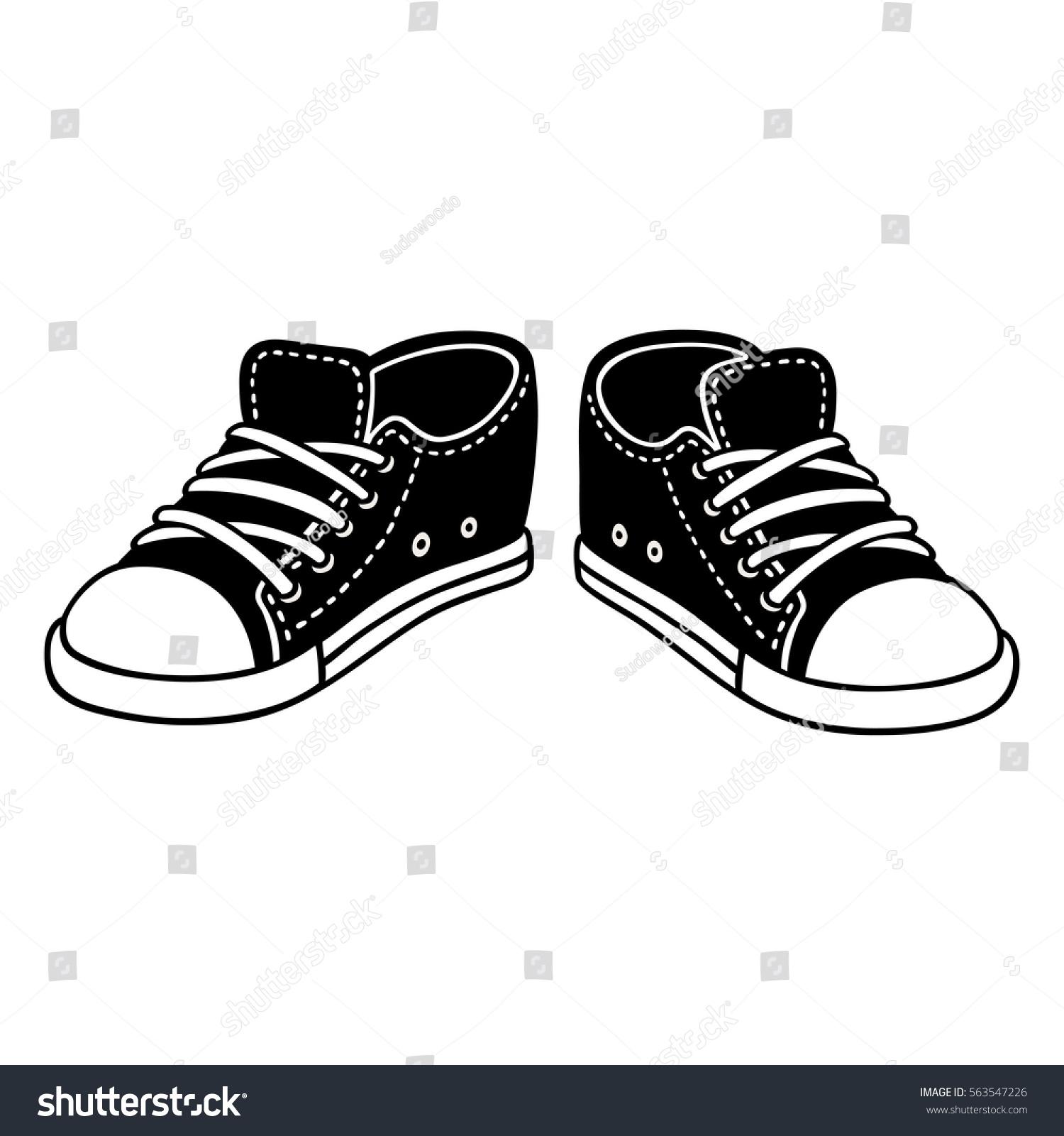 black canvas sneakers cartoon drawing classic stock vector