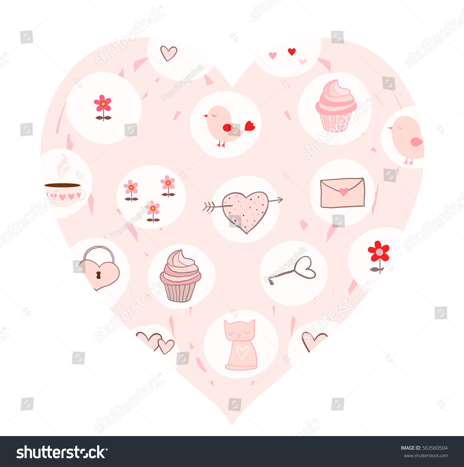 Pink Vector Heart Card Cute Drawings Stock Vector Royalty Free