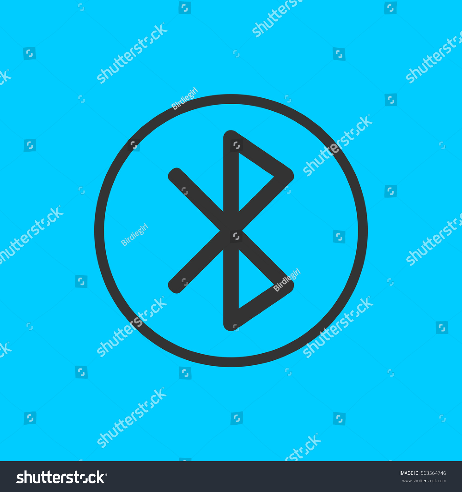Bluetooth Icon Flat Simple Black Symbol Stock Illustration 563564746