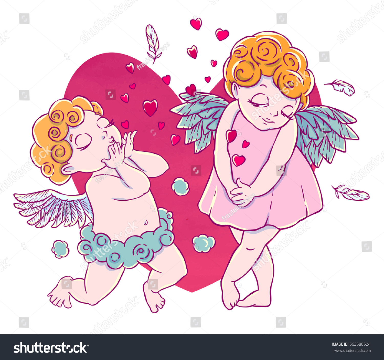 valentines day cupidboy cloud pants knelt stock vector 563588524
