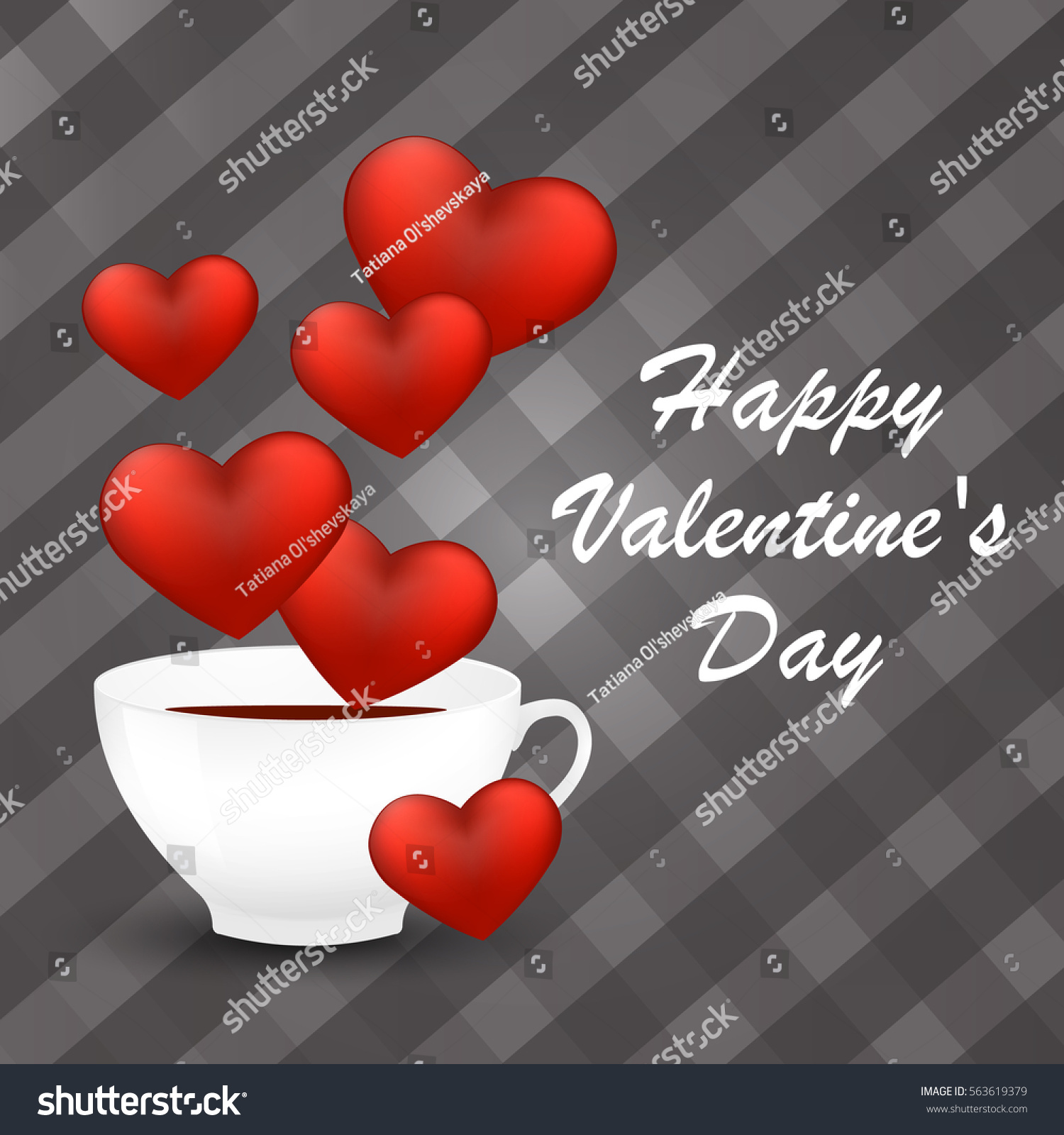 happy valentines day card with a cup of coffee and hearts