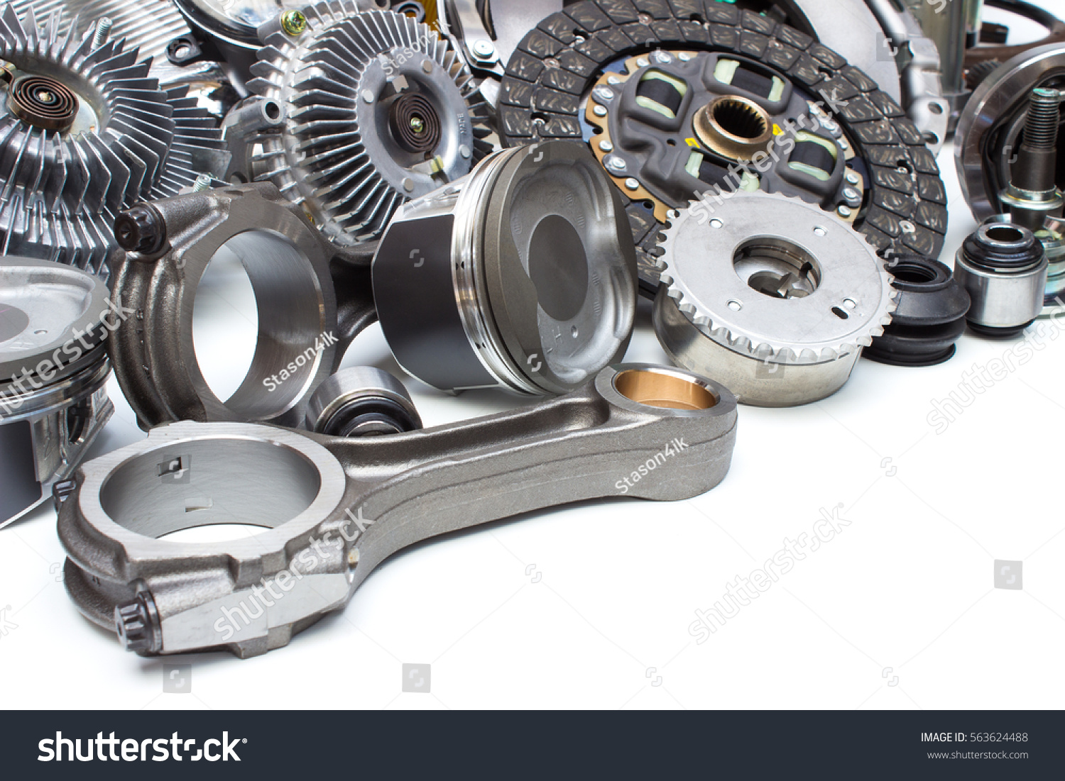 Group Automobile Engine Parts Isolated On Stock Photo (Royalty Free ...