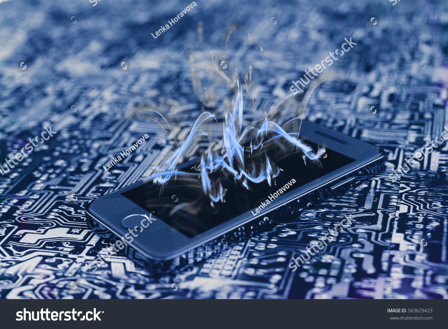 Smartphone On Printed Circuit Board Blue Stock Illustration Of A Cell Phone Royalty Free Image With Flames Coming Out The Screen 3d