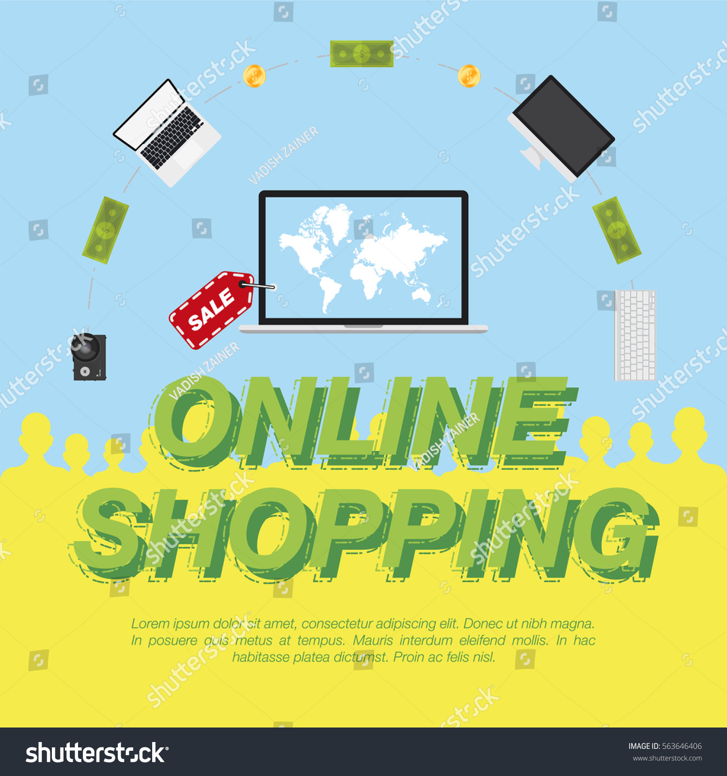 Online shop concept on sale digital stock vector 2018 563646406 online shop concept on the sale of digital technology world map on the screen gumiabroncs Gallery