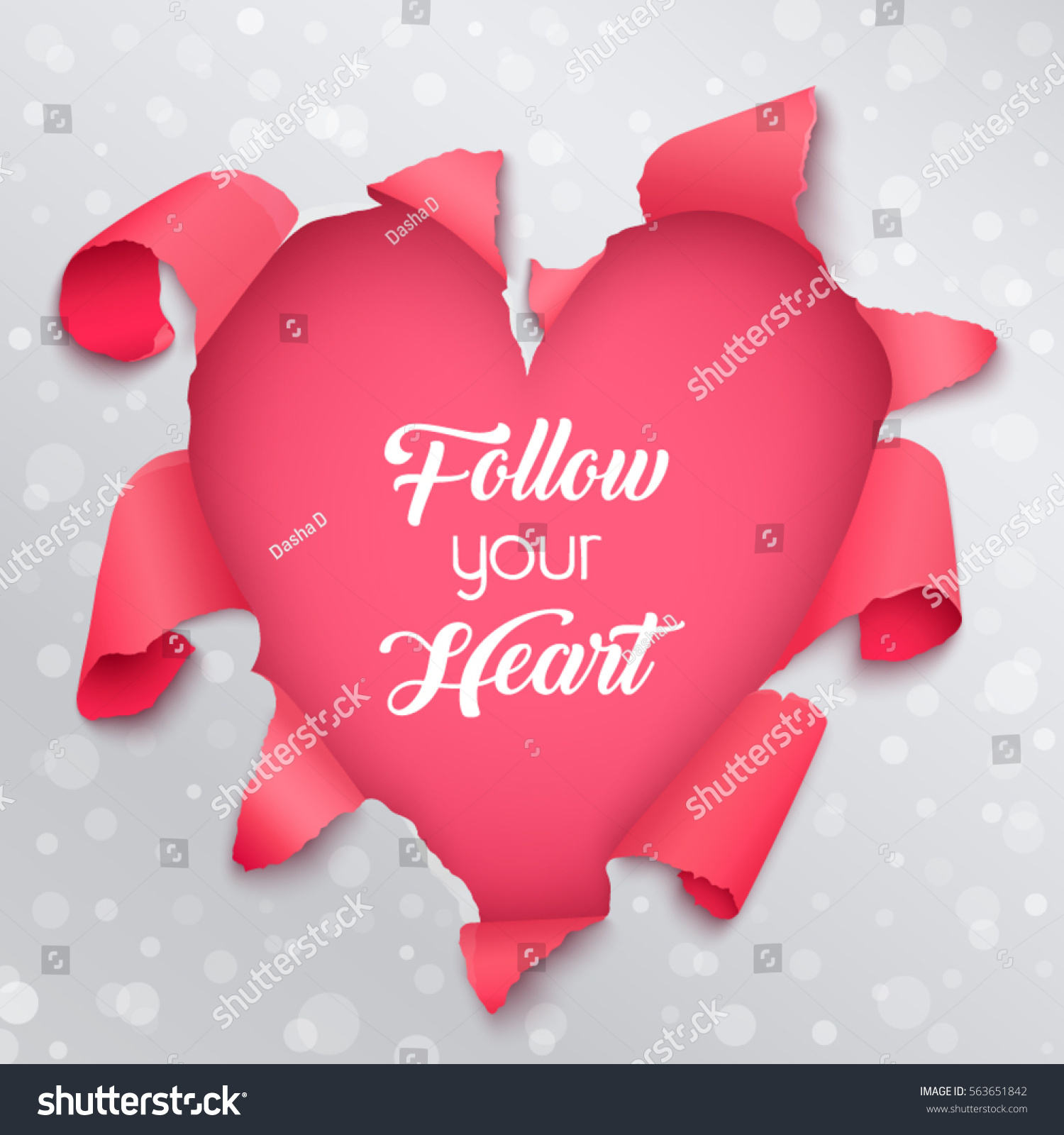 Follow Your Heart Valentines Greeting Card Stock Vector 563651842