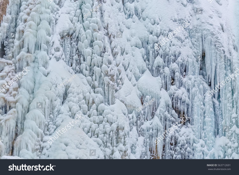 Frozen Waterfall Winter Time Plitvice Lakes Stock Photo