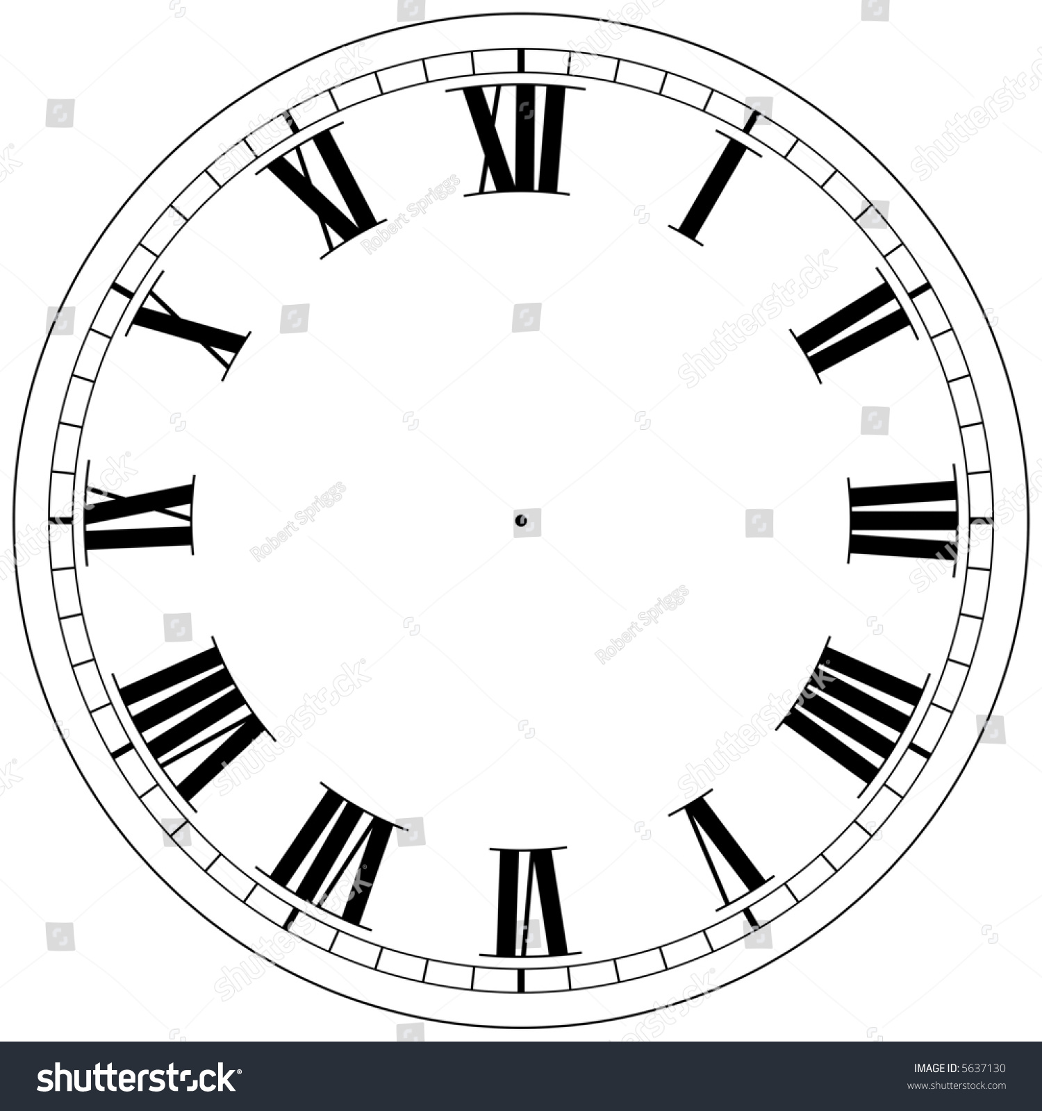 Precision Roman Clock Face Template Stock Illustration
