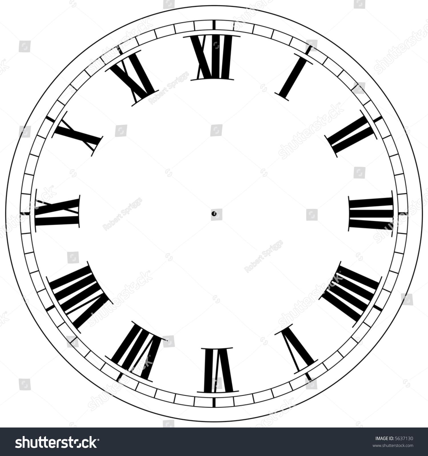Precision Roman Clock Face Template Stock Photo 5637130 : Shutterstock